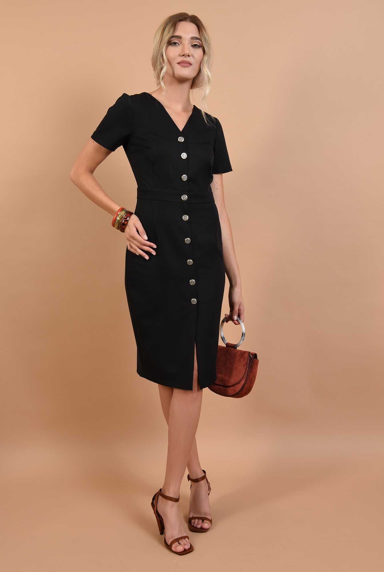 360 - rochie neagra, cu nasturi, anchior, maneci scurte, office