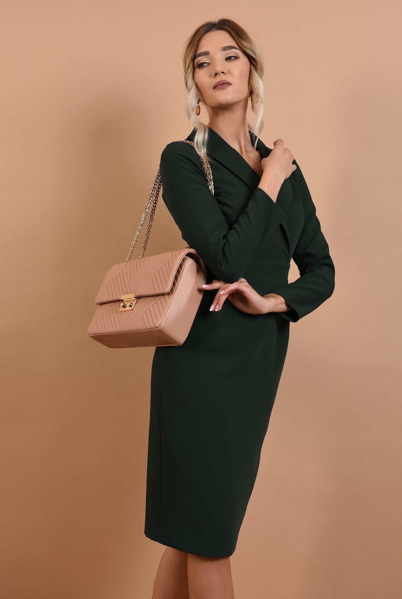 rochie office, verde, cu revere, cu maneci lungi, Poema