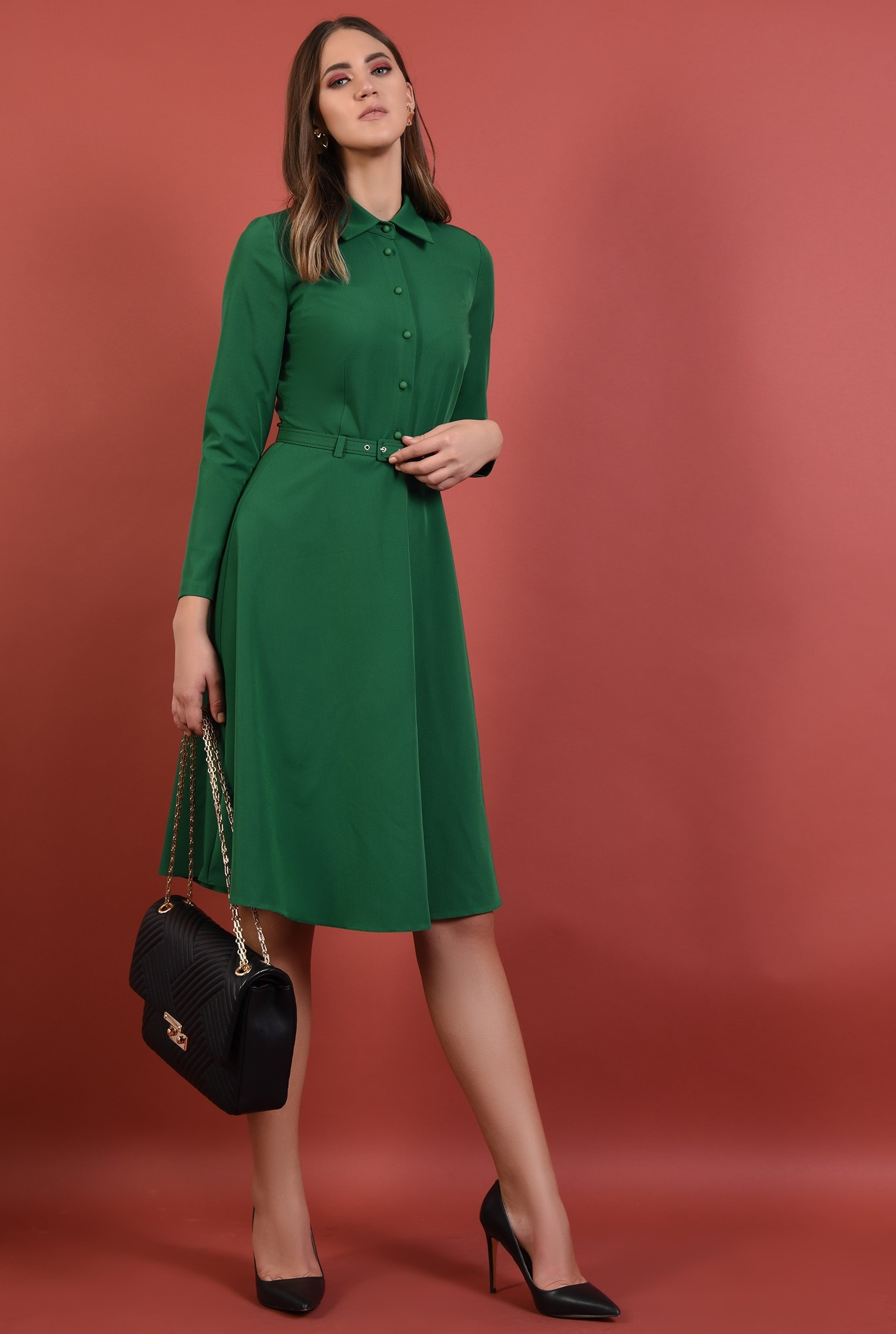 360 - rochie verde, office, midi, croi evazat, maneci lungi, curea, Poema