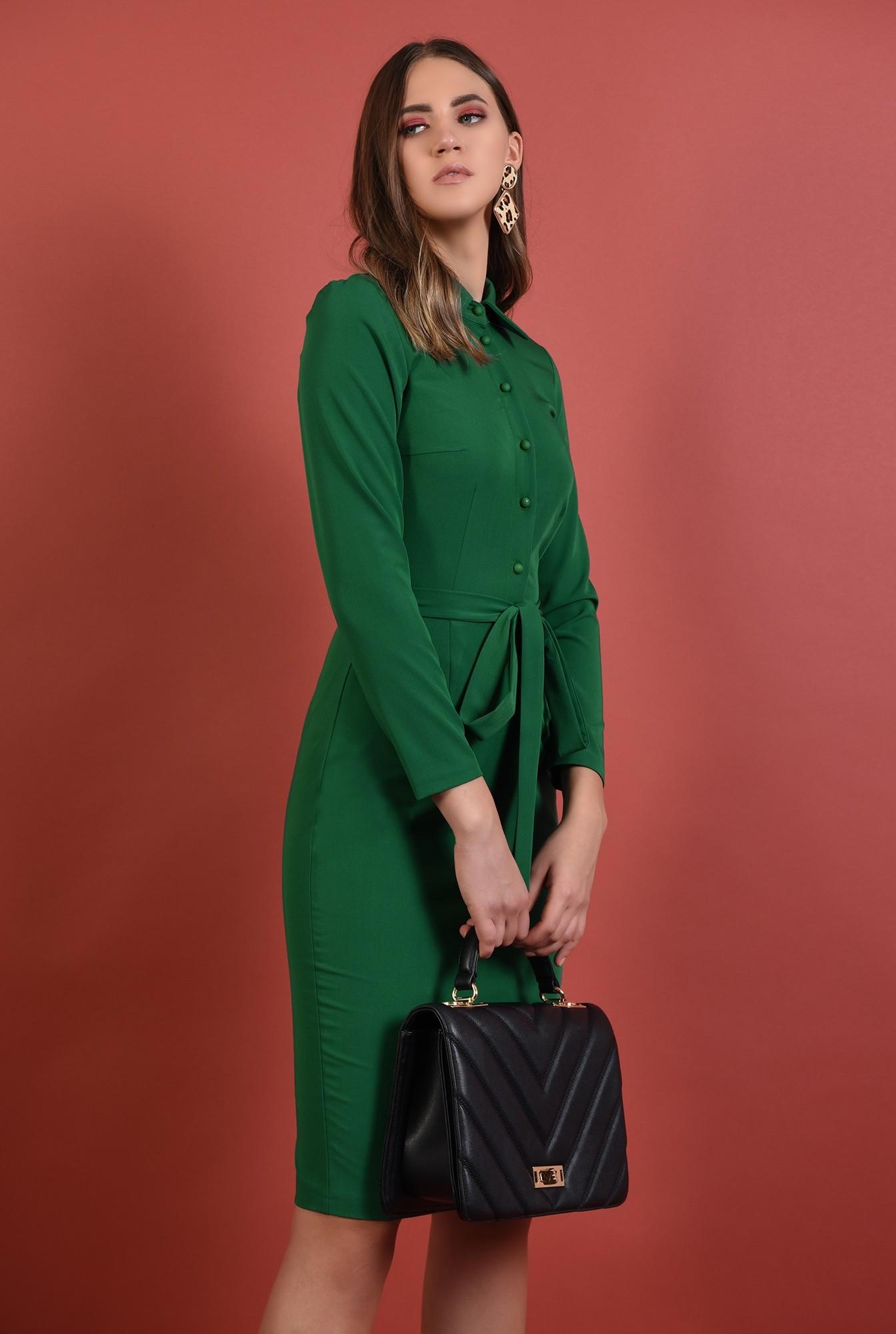 rochie midi, conica, verde, cu nasturi, cu cordon, Poema