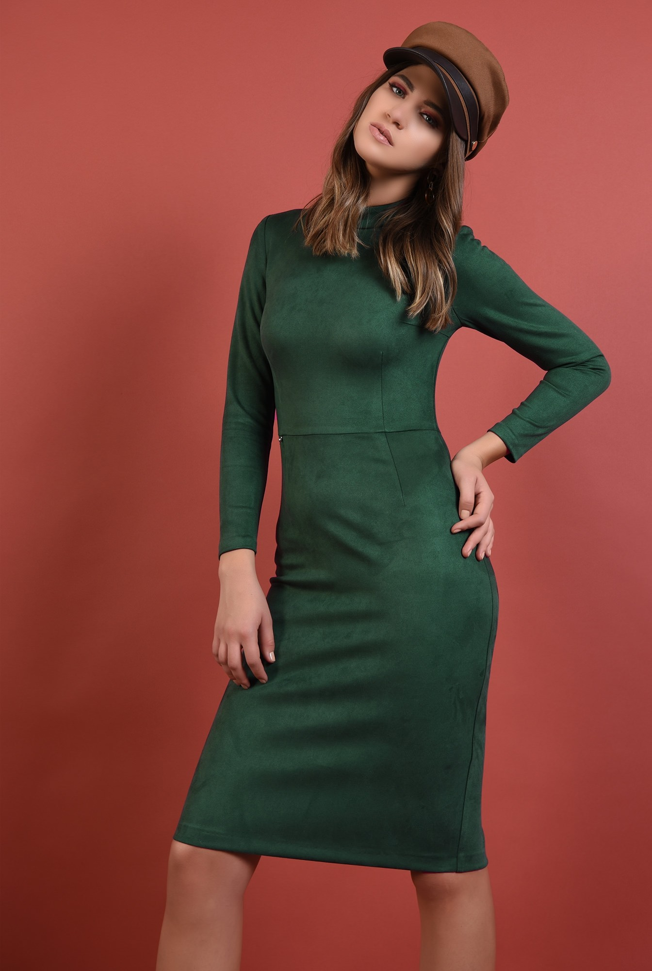 rochie verde, casual, conica, stretch, maneci lungi