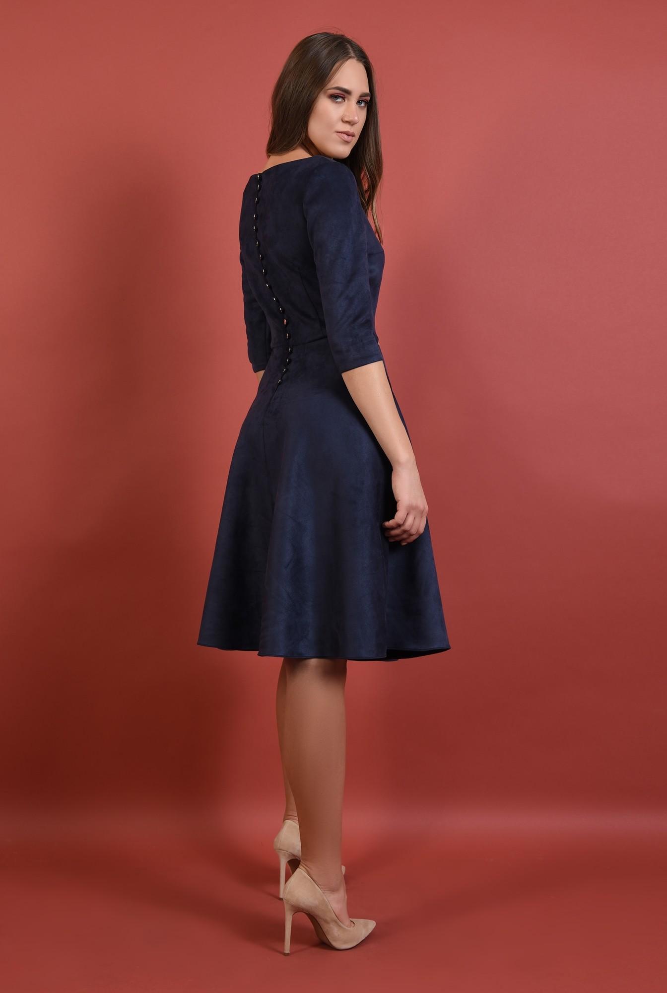 rochie casual, midi, evazata, bleumarin, nasturi aurii