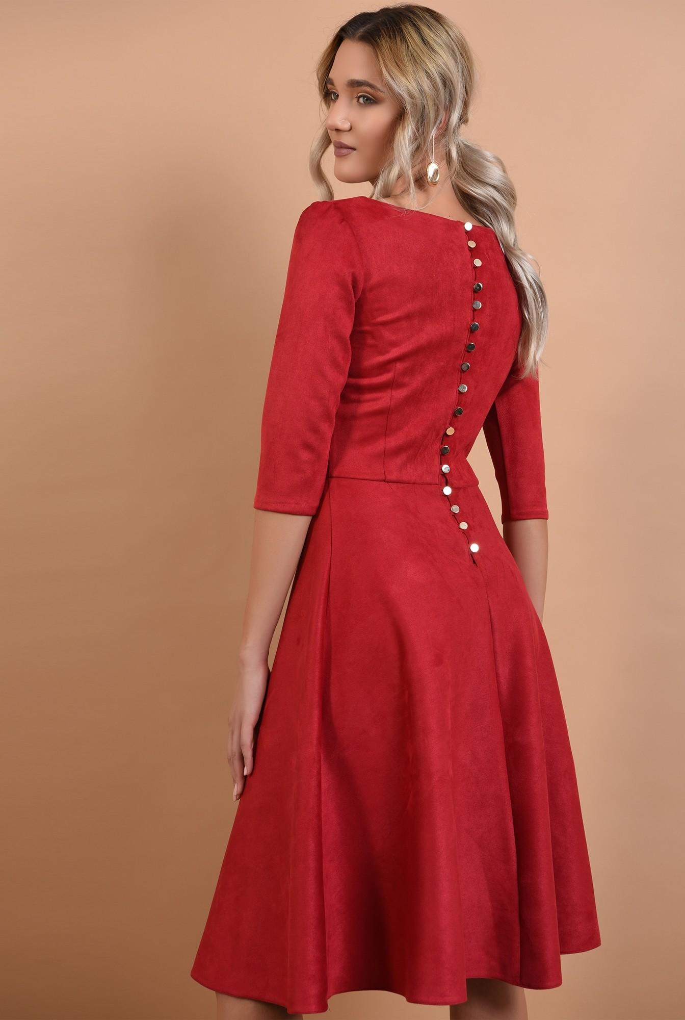rochie rosie, din piele intoarsa, maneci midi, nasturi aurii la spate, Poema