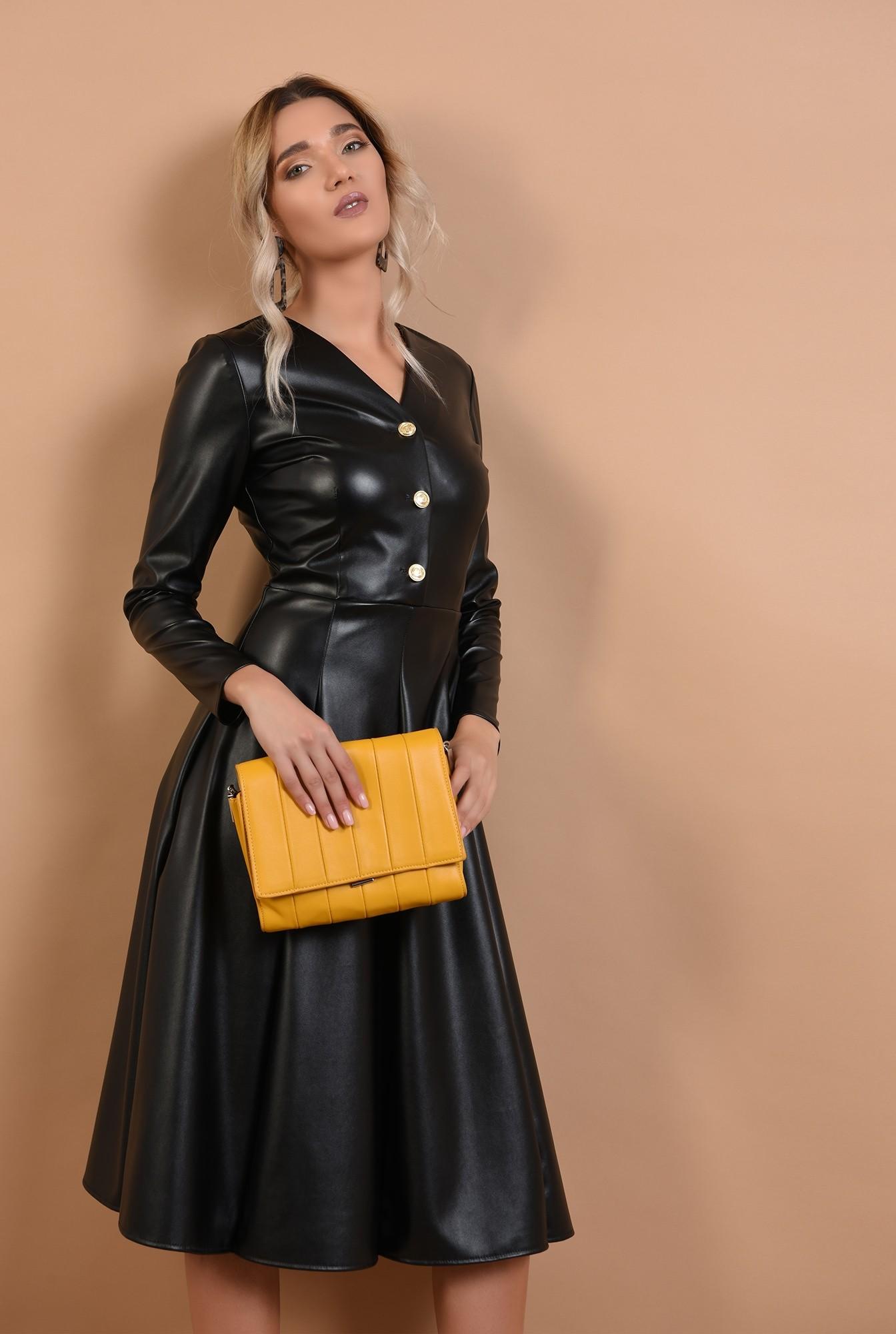 rochie casual, evazata, neagra, din piele, midi, Poema