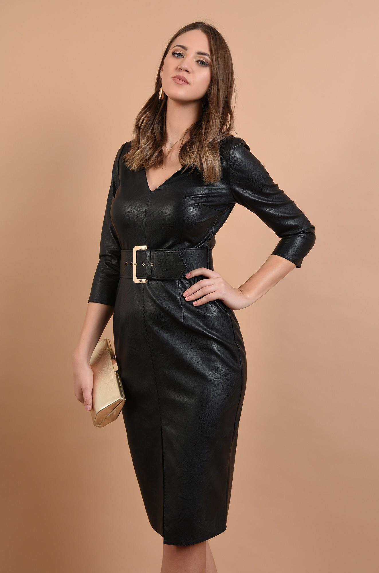 rochie neagra, cambrata, cu centura, anchior, maneci ajustate