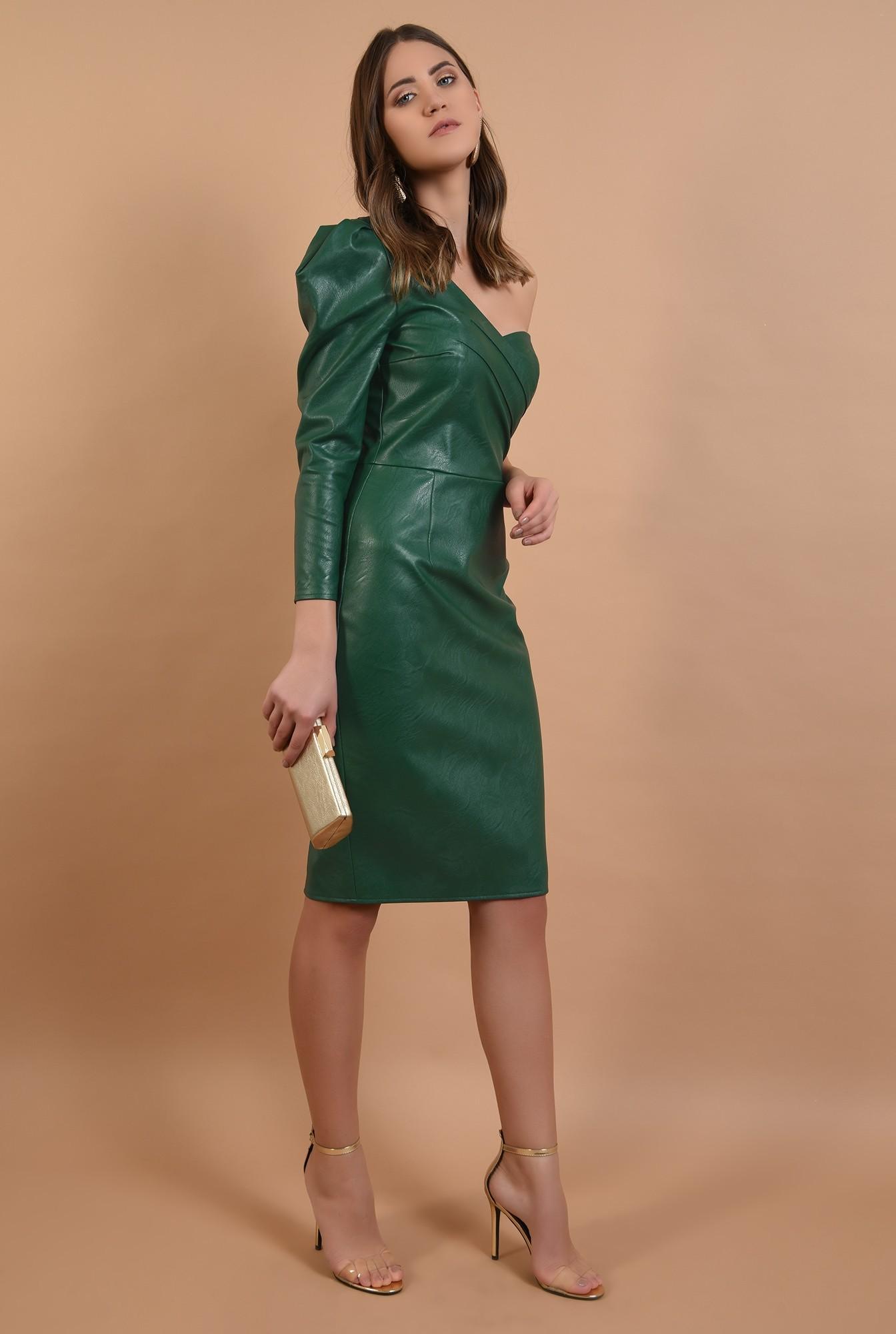 360 - rochie midi, conica, umar gol, piele ecologica