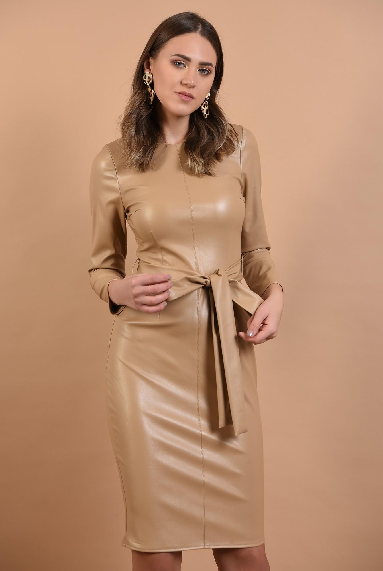 rochie midi, conica, cu cordon, piele eco, nude