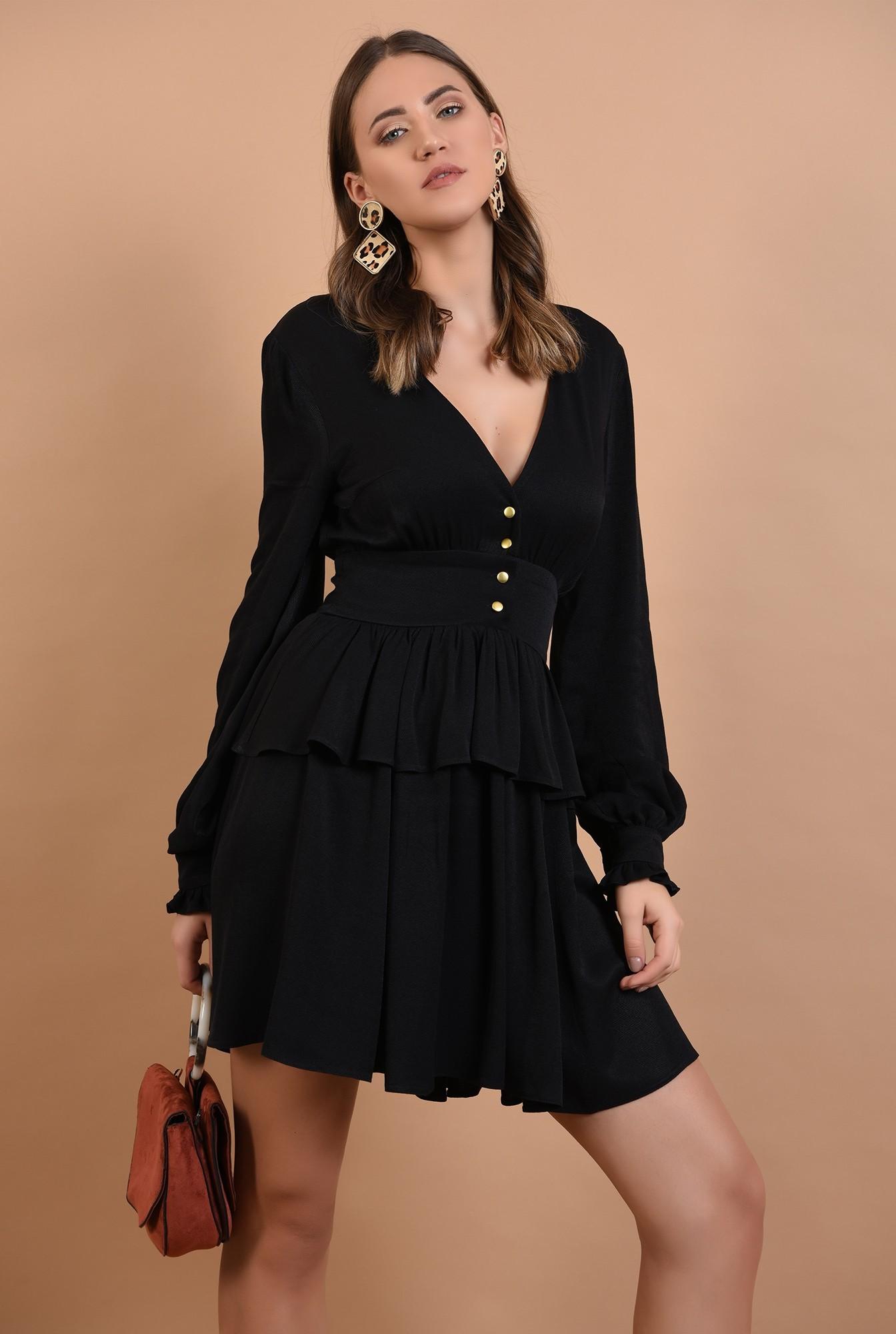 rochie mini, neagra, volan, peplum, nasturi aurii, anchior, Poema