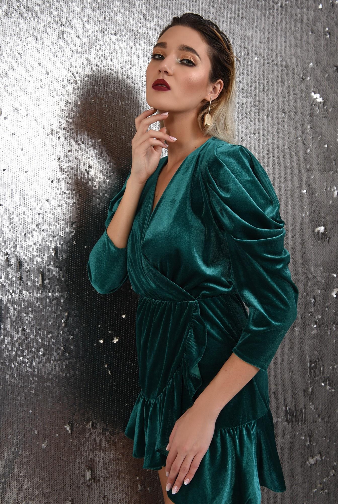 rochie de ocazie, din catifea, verde, mini, cu volan