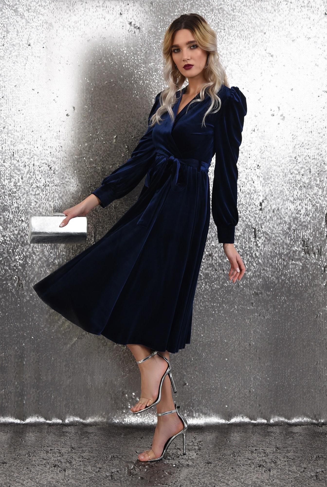 rochie eleganta, midi, evazata, cu cordon, maneci lungi