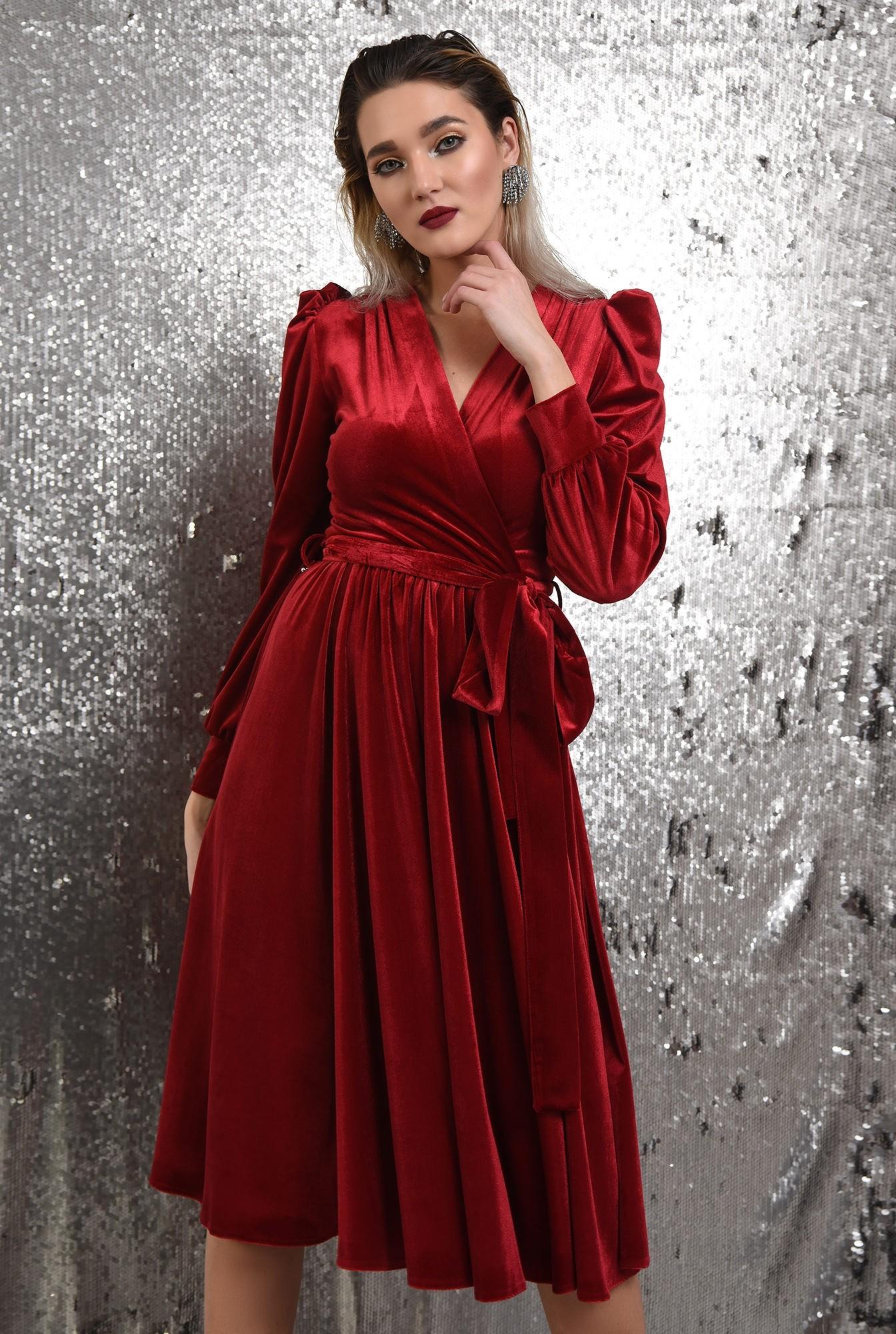rochie rosie, de catifea, eleganta, cu cordon, maneci bufante, Poema