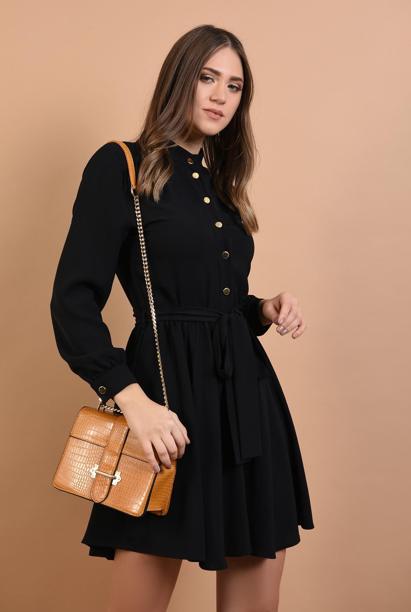 rochie neagra, scurta, cu nasturi, cordon, Poema