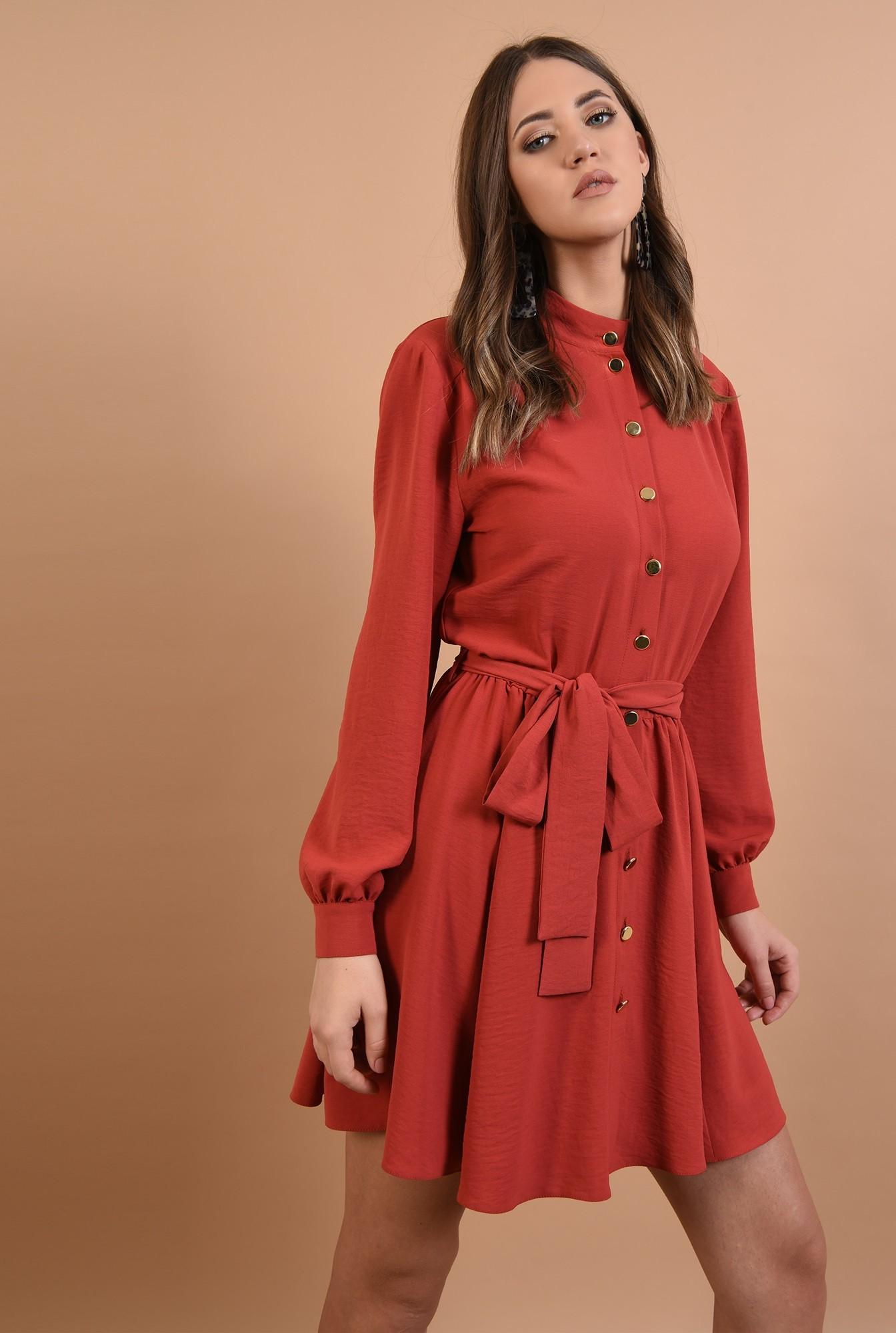 rochie rosu, casual, croi clos, cu cordon, nasturi aurii