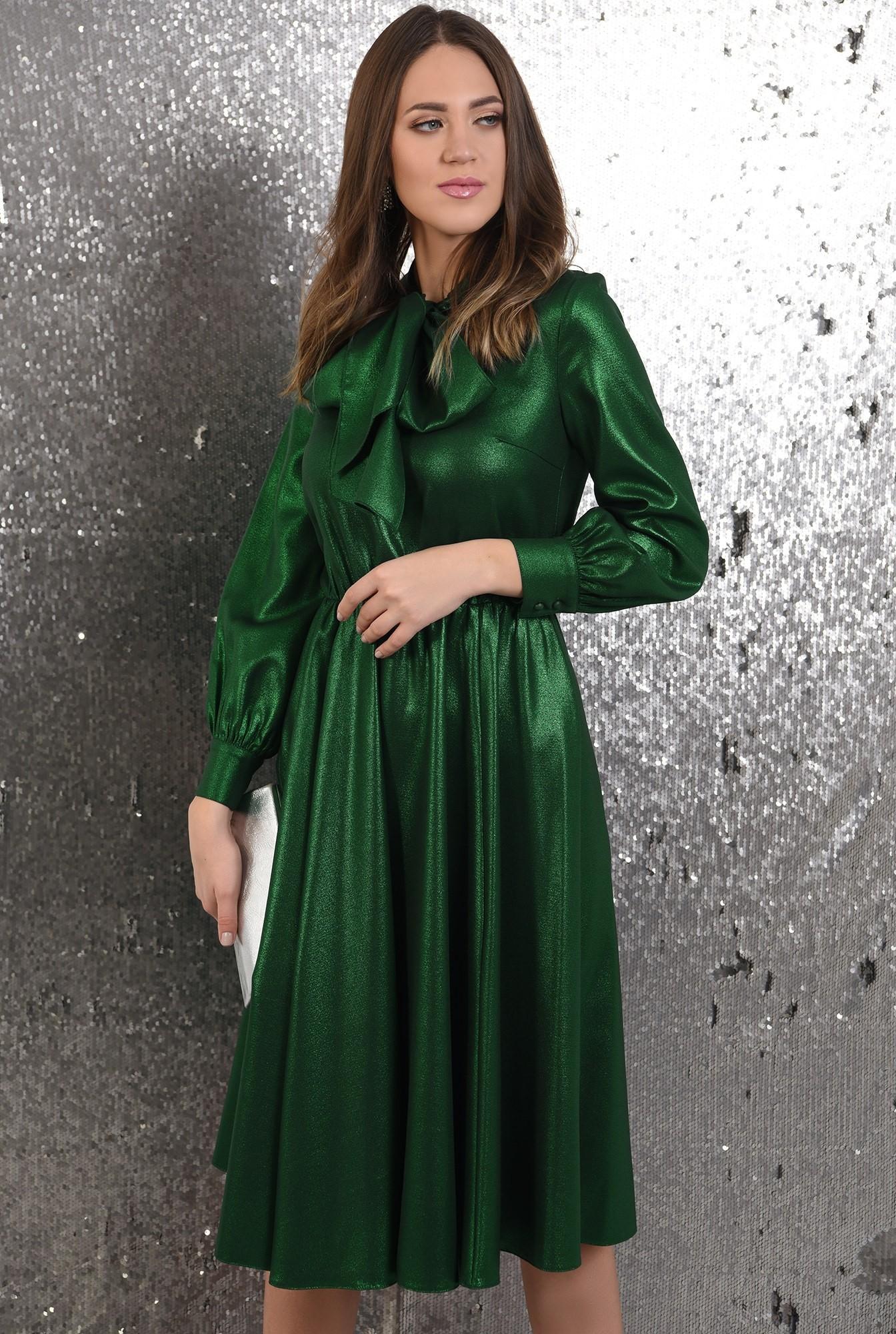 rochie verde, midi, evazata, funda la gat, Poema