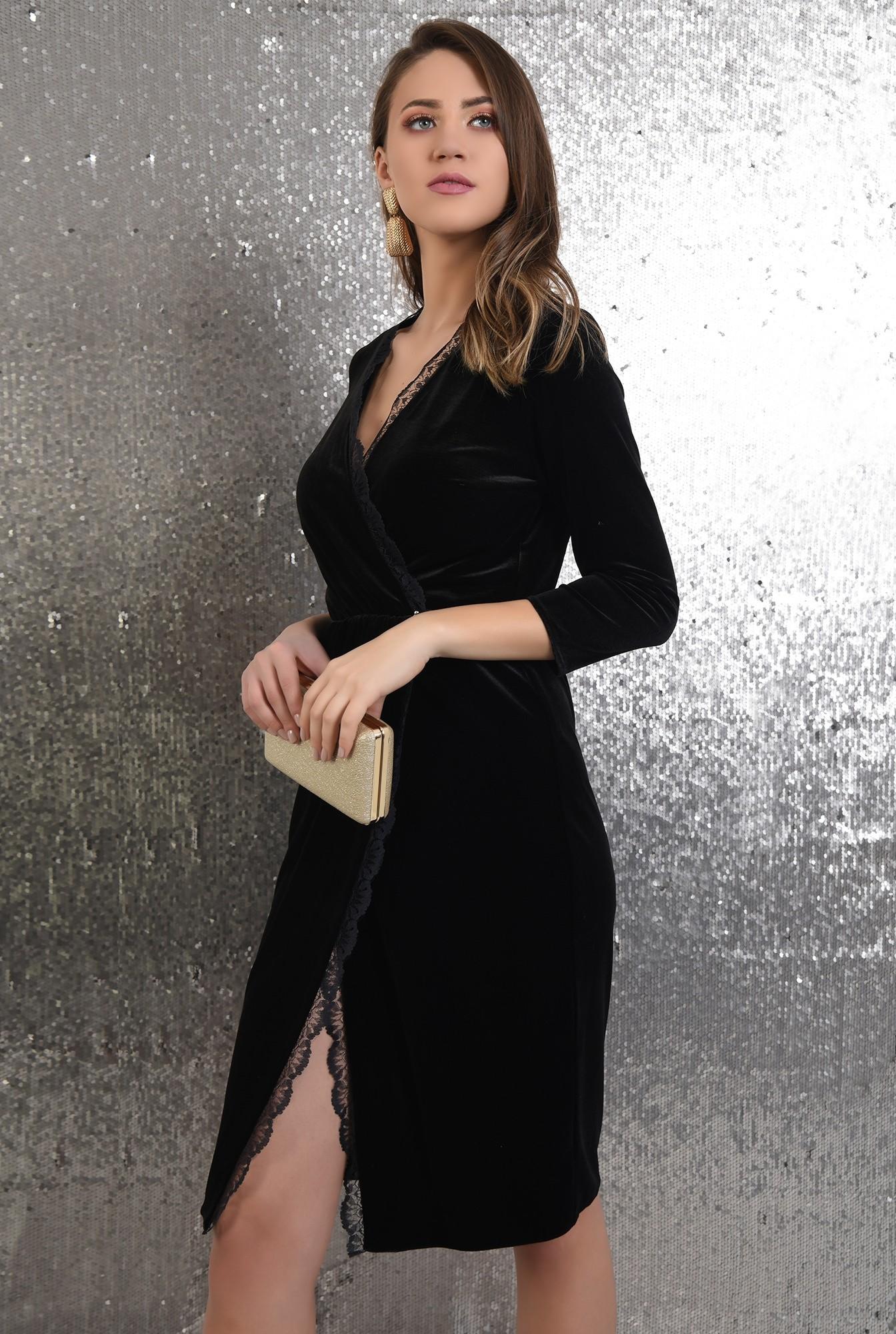 rochie eleganta, conica, petrecuta, din catifea, cu dantela
