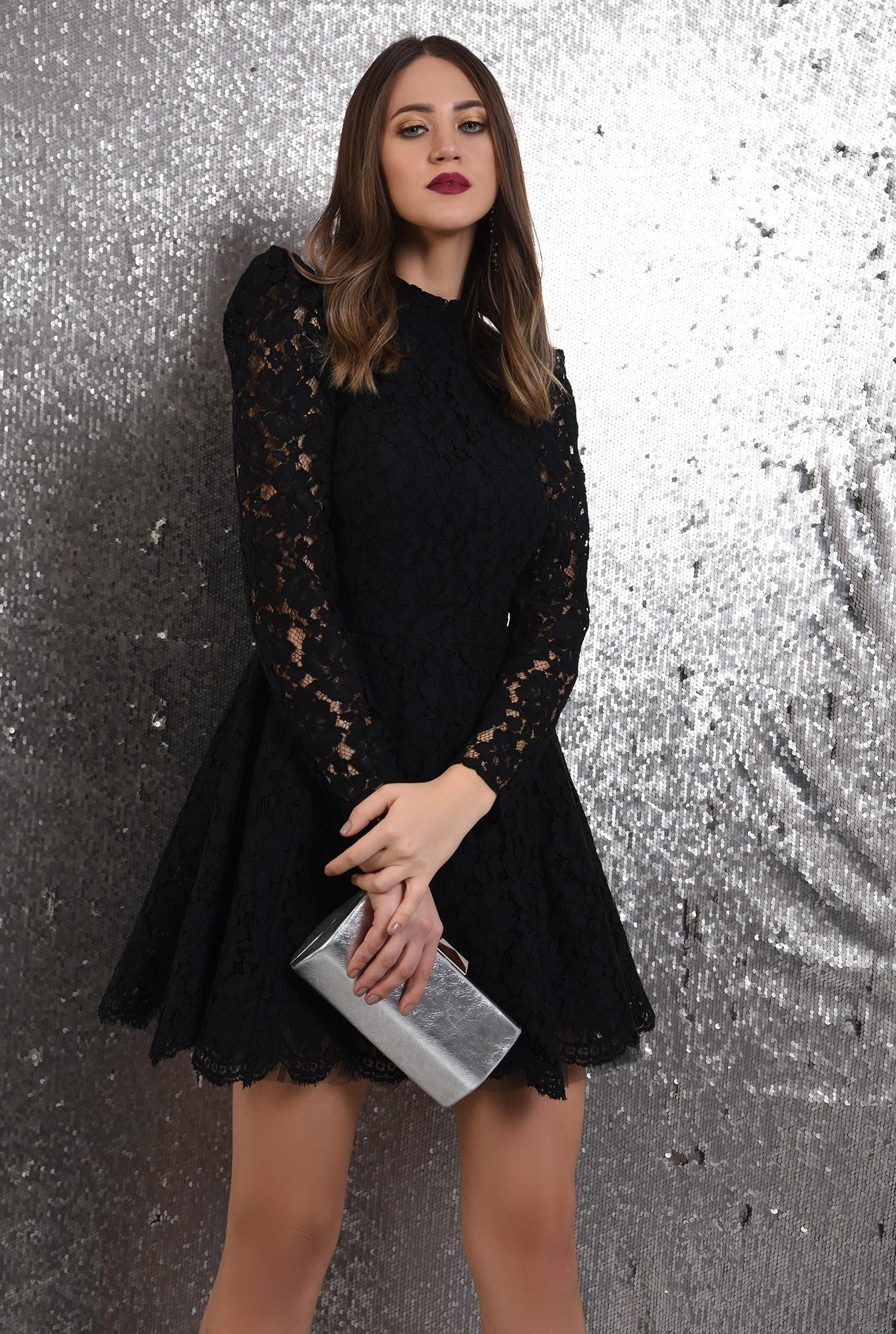 rochie eleganta, din dantela neagra, Poema, cu tul, rochie de ocazie