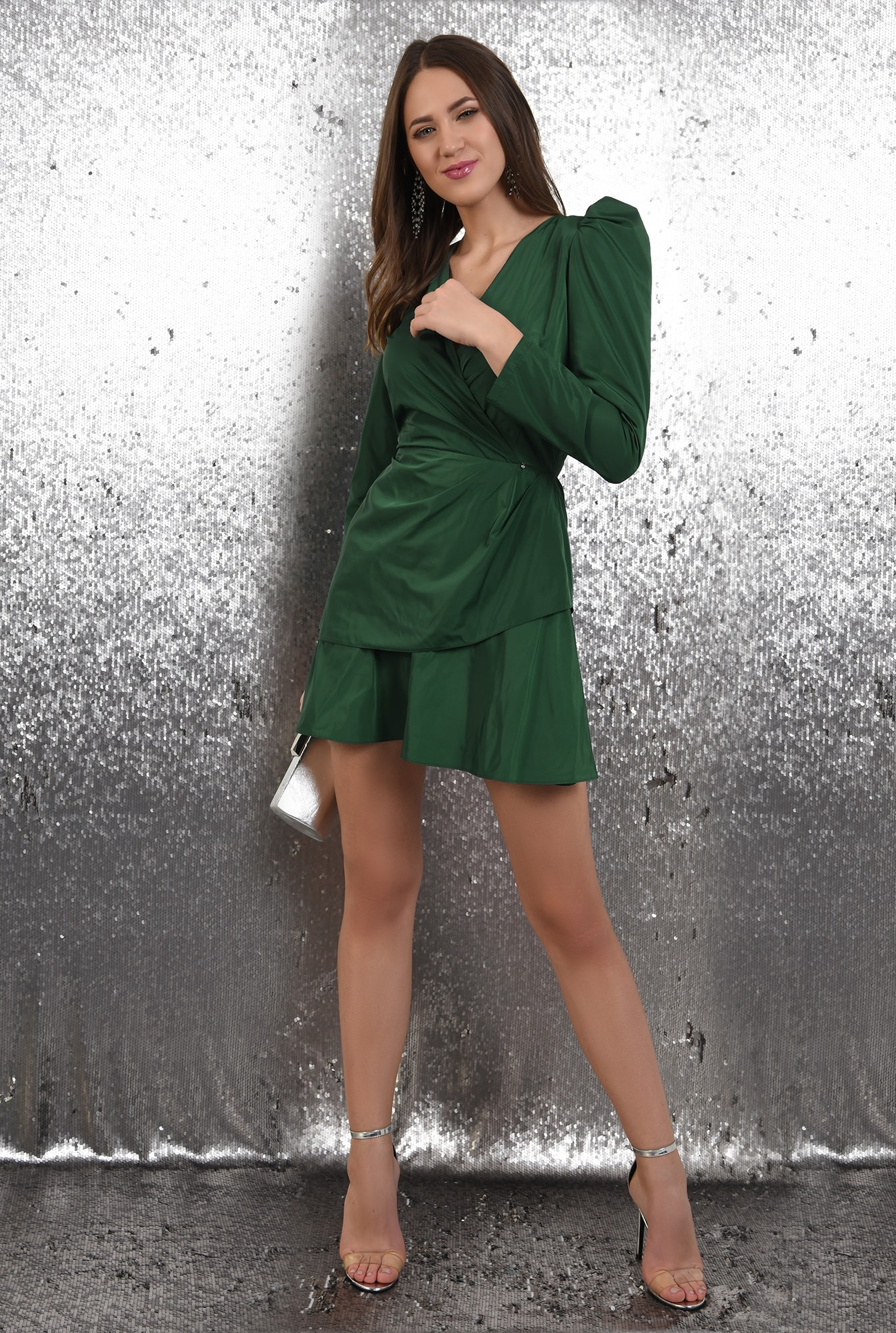 360 - rochie eleganta, petrecuta, cu pliuri decorative, maneci lungi, Poema