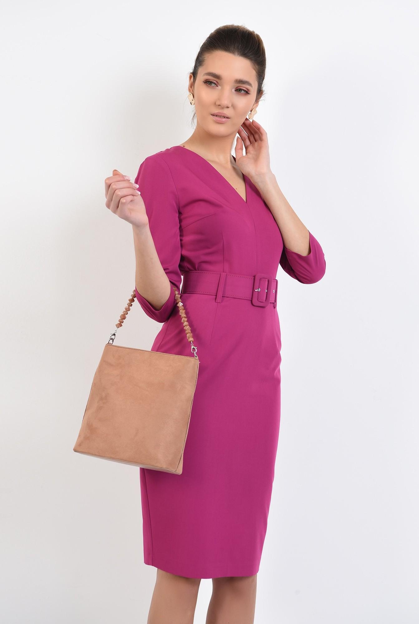 rochie office, conica, midi, cu anchior, cu curea
