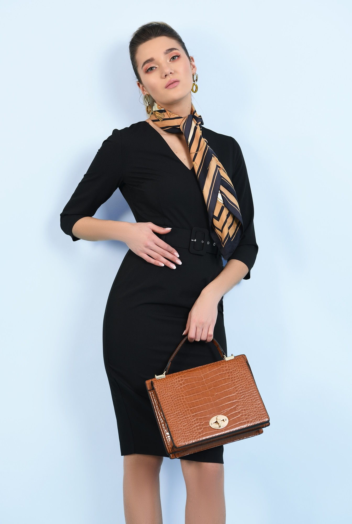 rochie neagra, midi, office, conica, cu curea, decolteu anchior