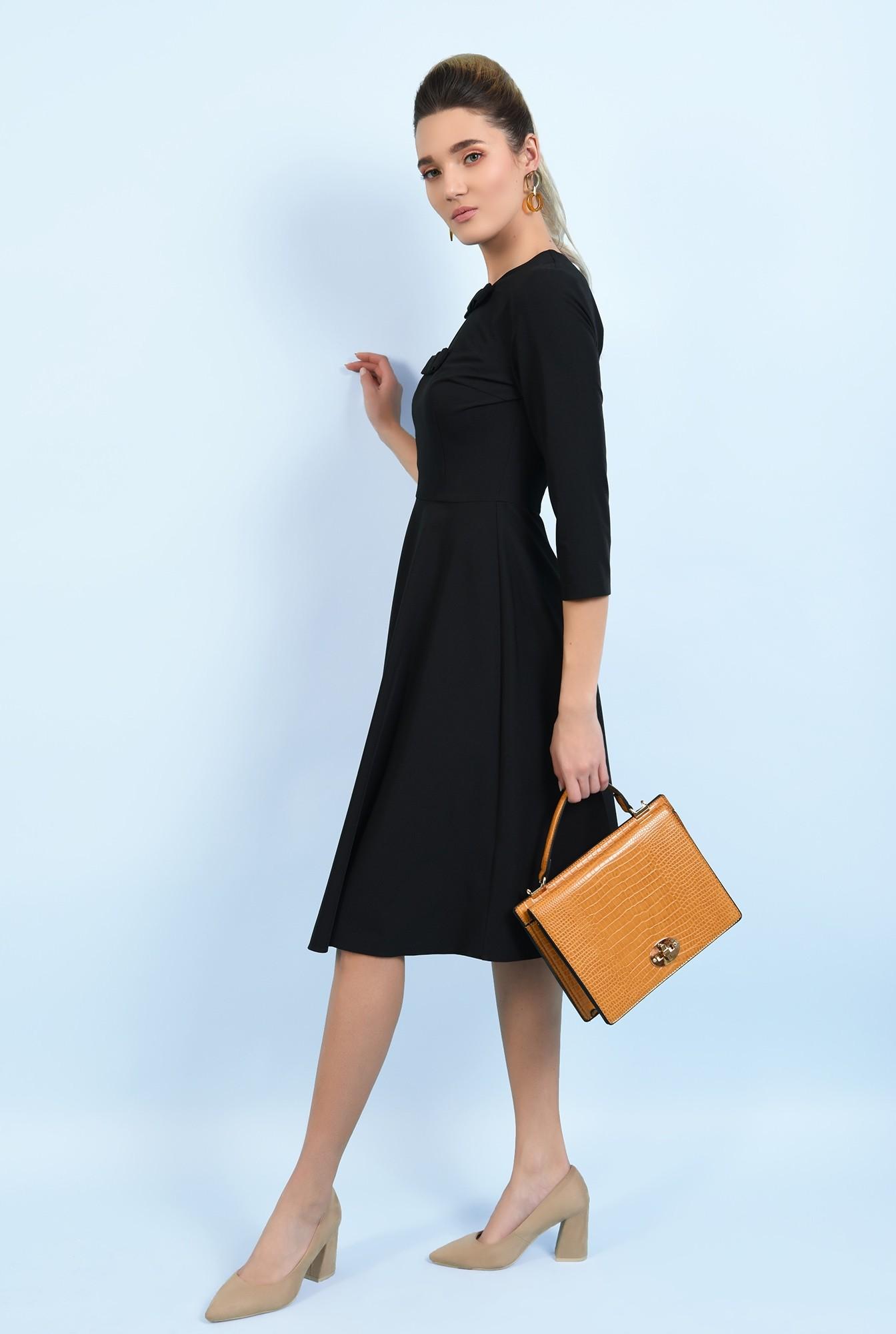 360 - rochie neagra, evazata, cu funde, rochie office, midi