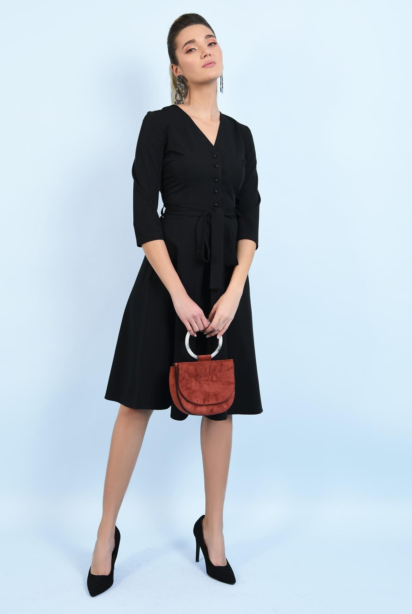 360 - rochie office, neagra, midi, cu nasturi, cu cordon