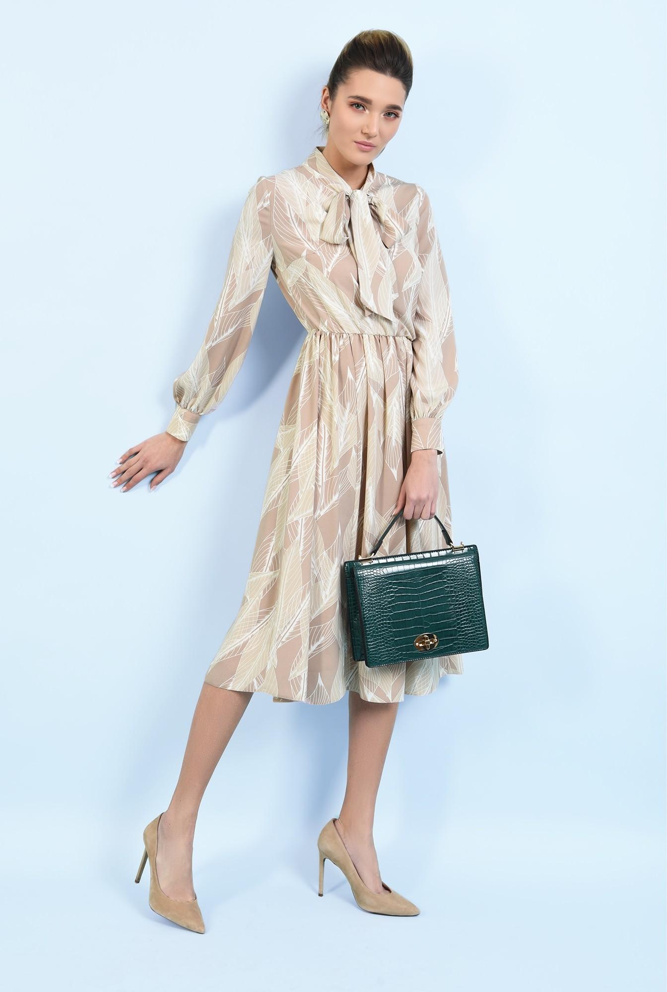 360 - rochie midi, clos, cu imprimeu, funda, rochie de primavara