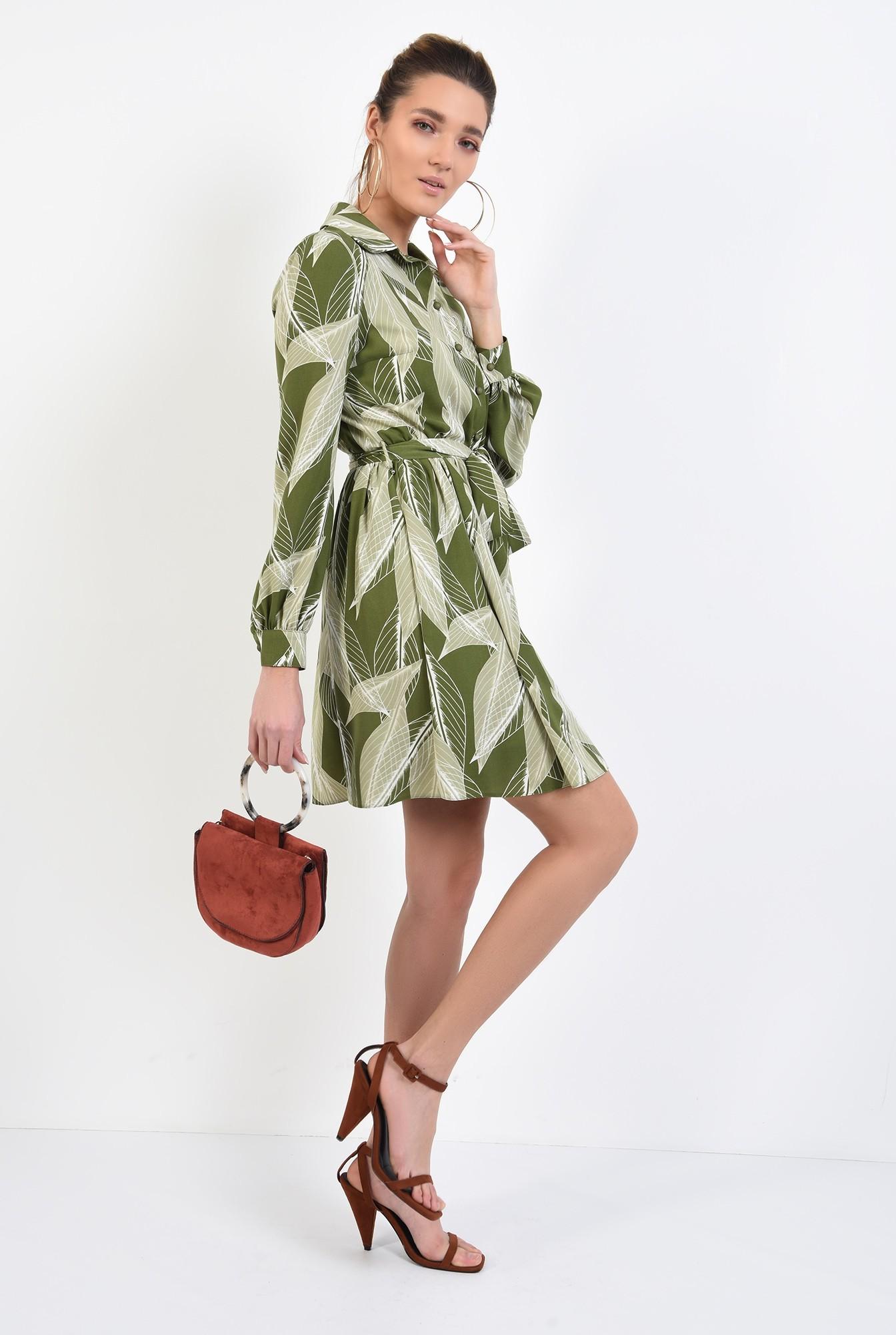360 - rochie mini, cu print botanic, maneci lungi, nasturi, cordon