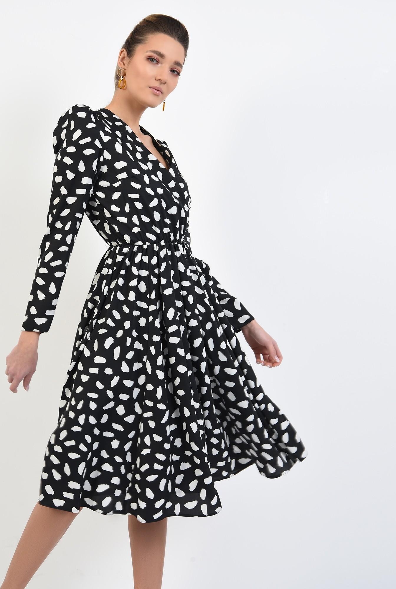 rochie midi, evazata, cu imprimeu, alb-negru, decolteu petrecut