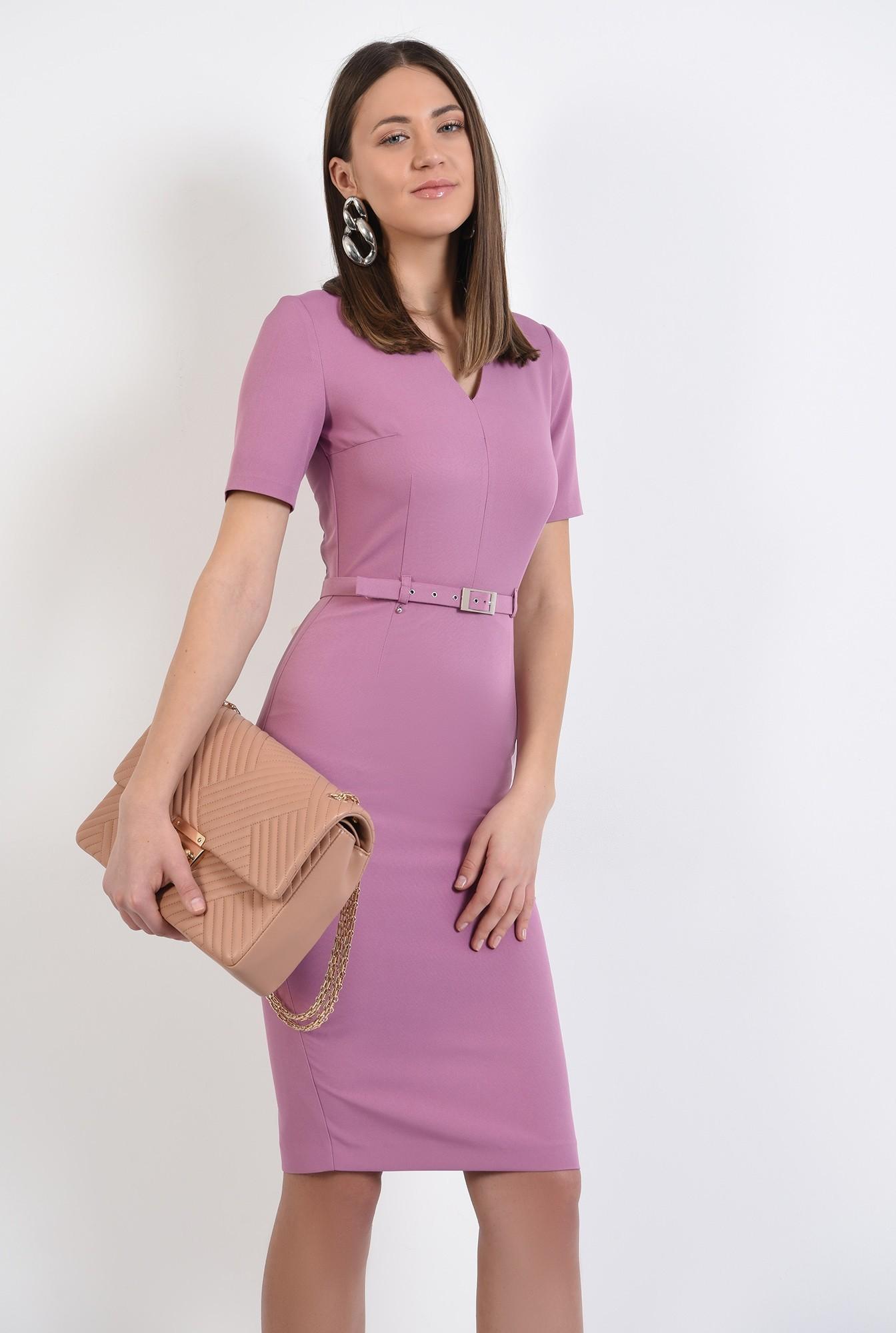 rochie midi, cambrata, cu curea fina, maneci scurte, rochie office, rochie de primavara