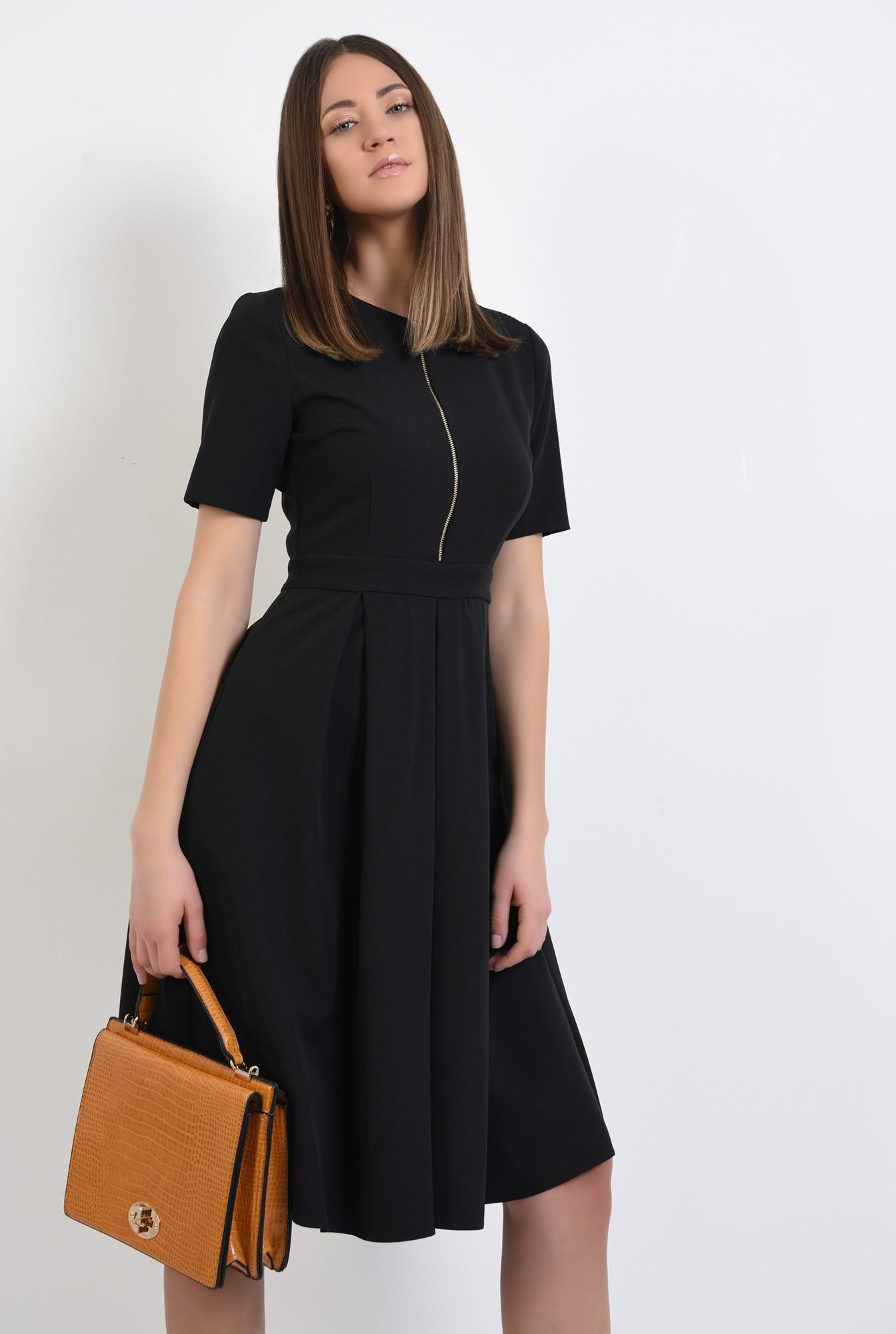 rochie neagra, office, midi, evazata, cu fermoar metalic