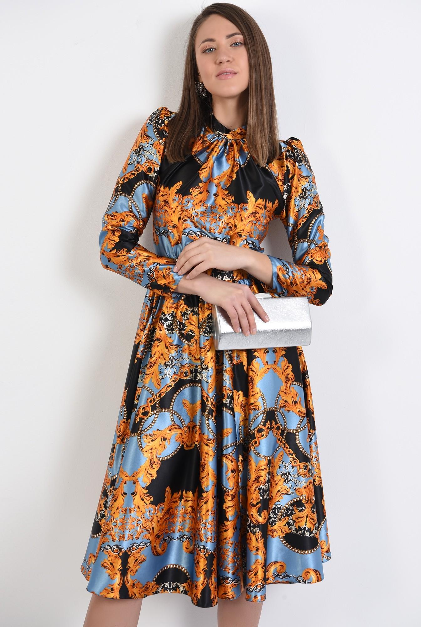 rochie din satin, eleganta, cu imprimeu, rochie de ocazie, Poema