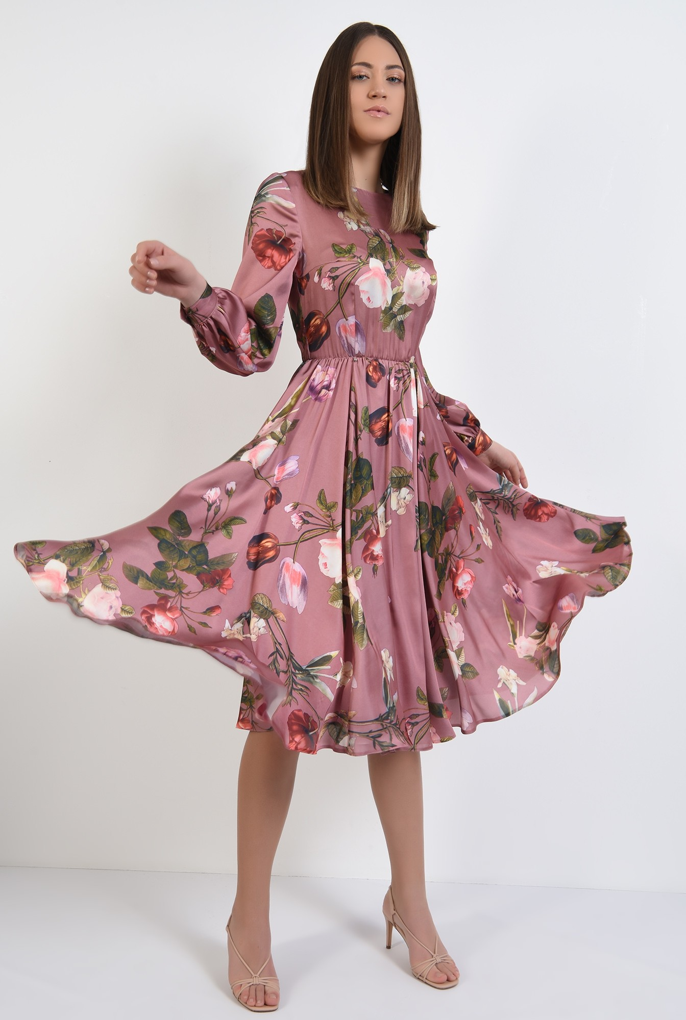 360 - rochie de primavara, clos, cu imprimeu floral, evazata, maneci lungi bufante
