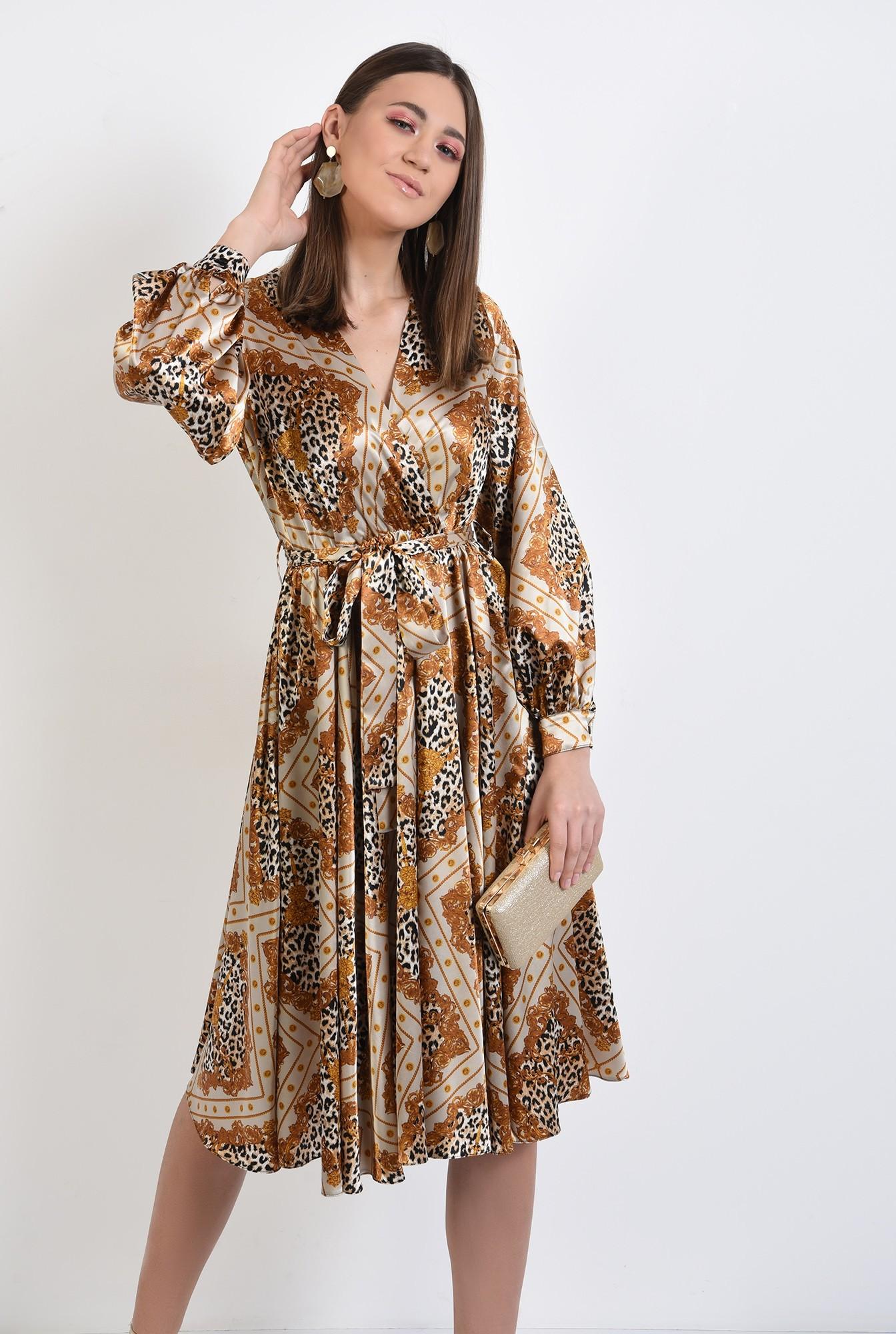 rochie eleganta, midi, evazata, cu imprimeu, animal print, rochie de primavara