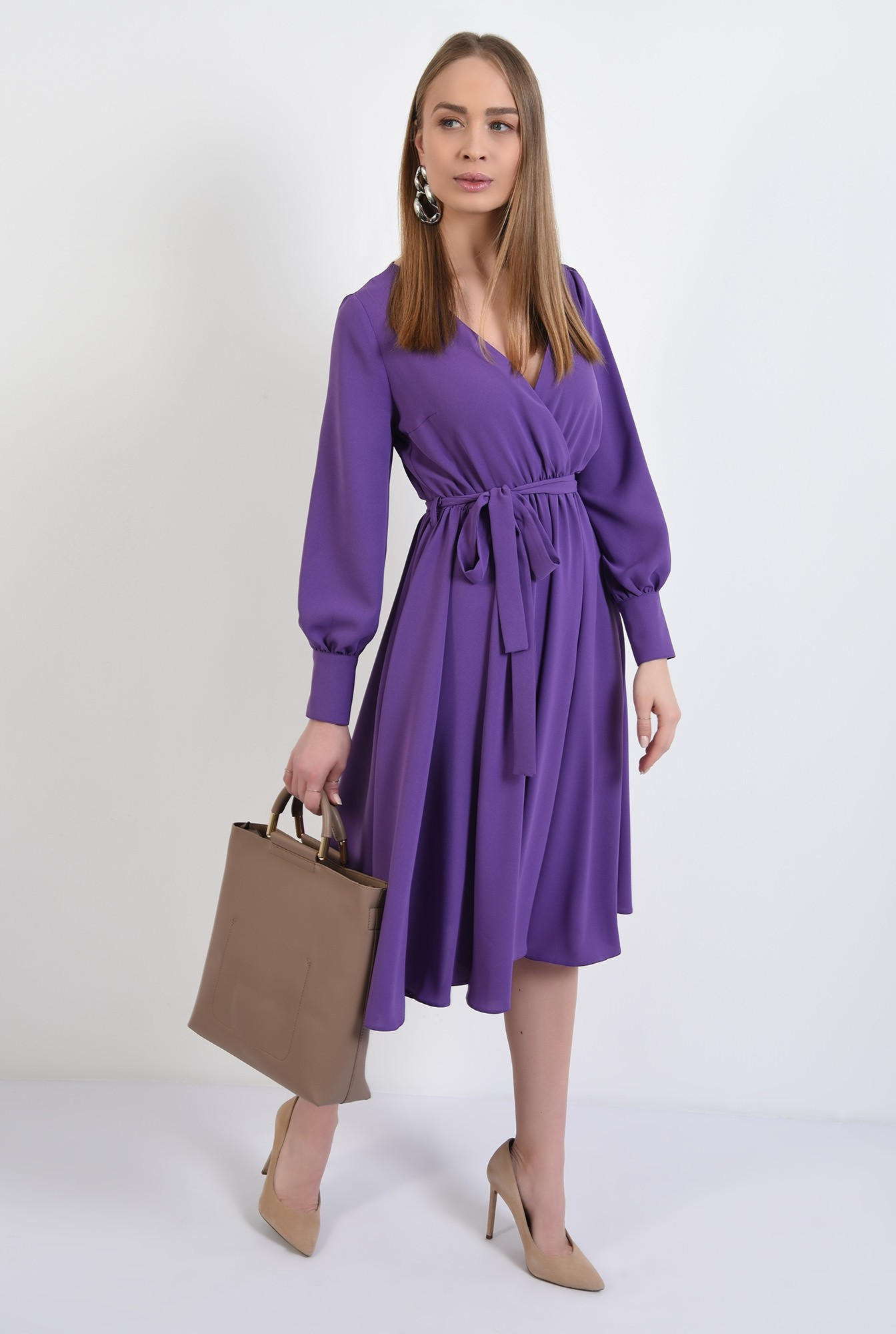 rochie casual, evazata, midi, cu cordon, anchior petrecut, maneci lungi