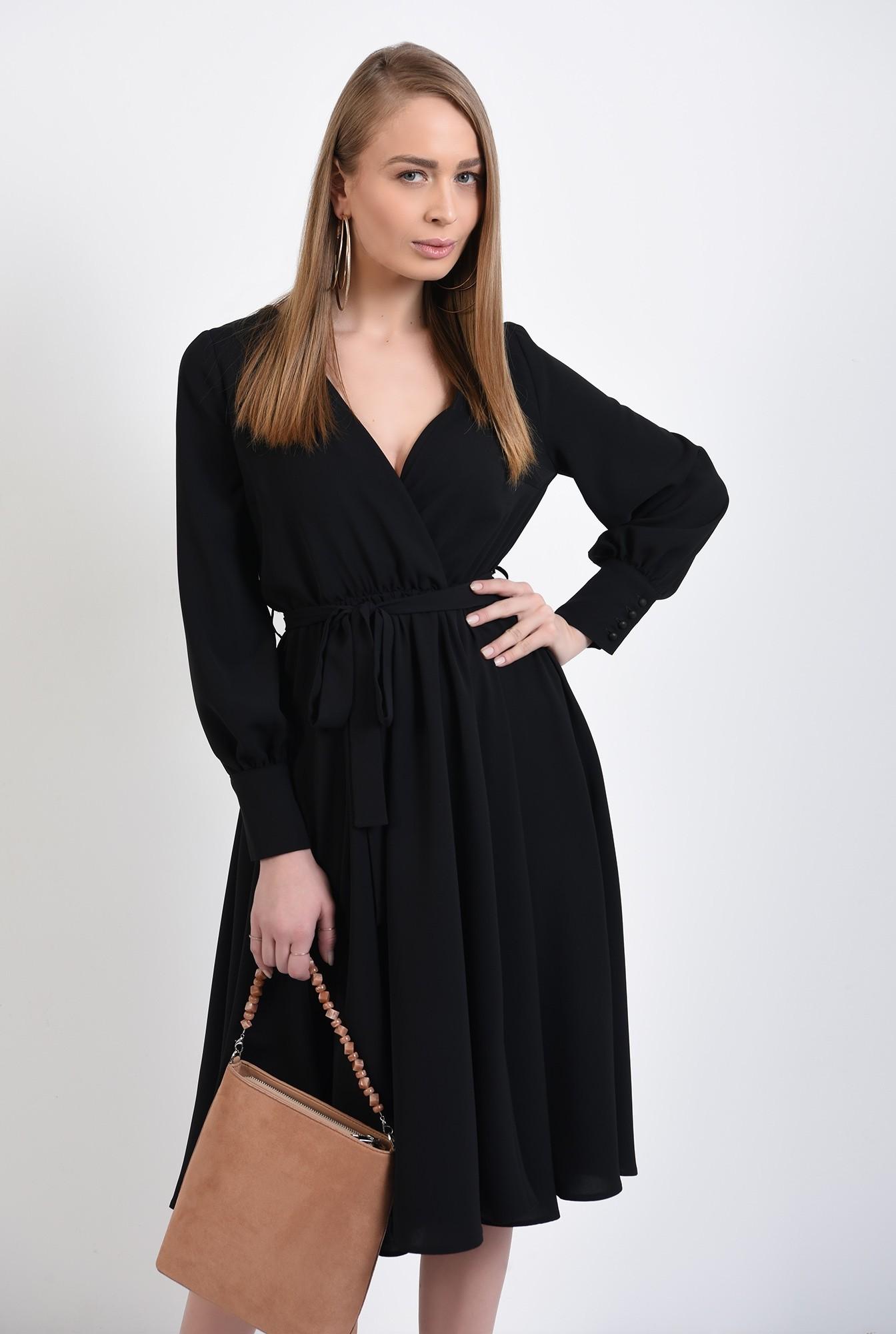 rochie neagra, cu anchior petrecut, midi, evazata, cu cordon, rochie de primavara