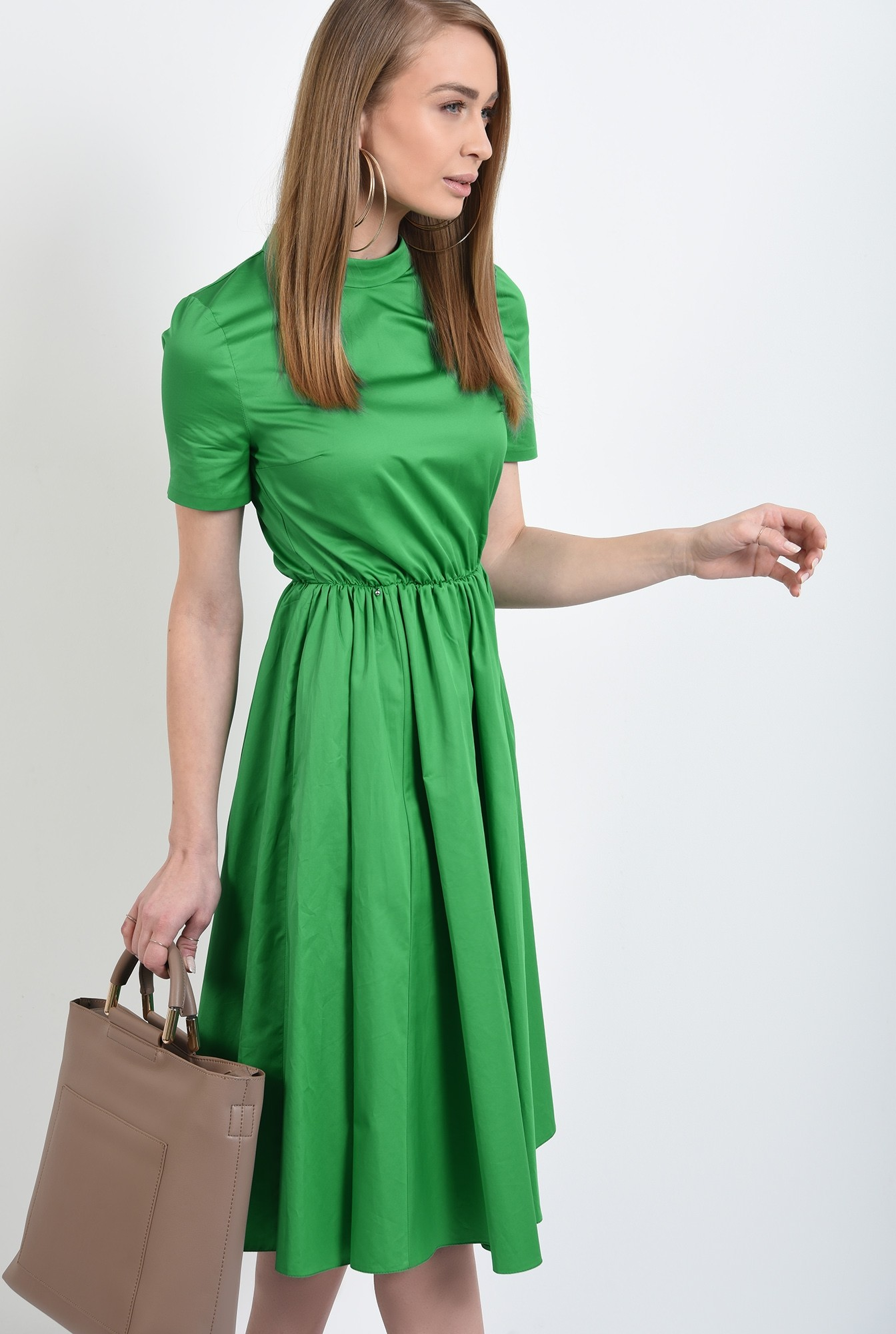 rochie midi, evazata, cu nasturi pe spate, cu guler, maneci scurte, rochie de primavara