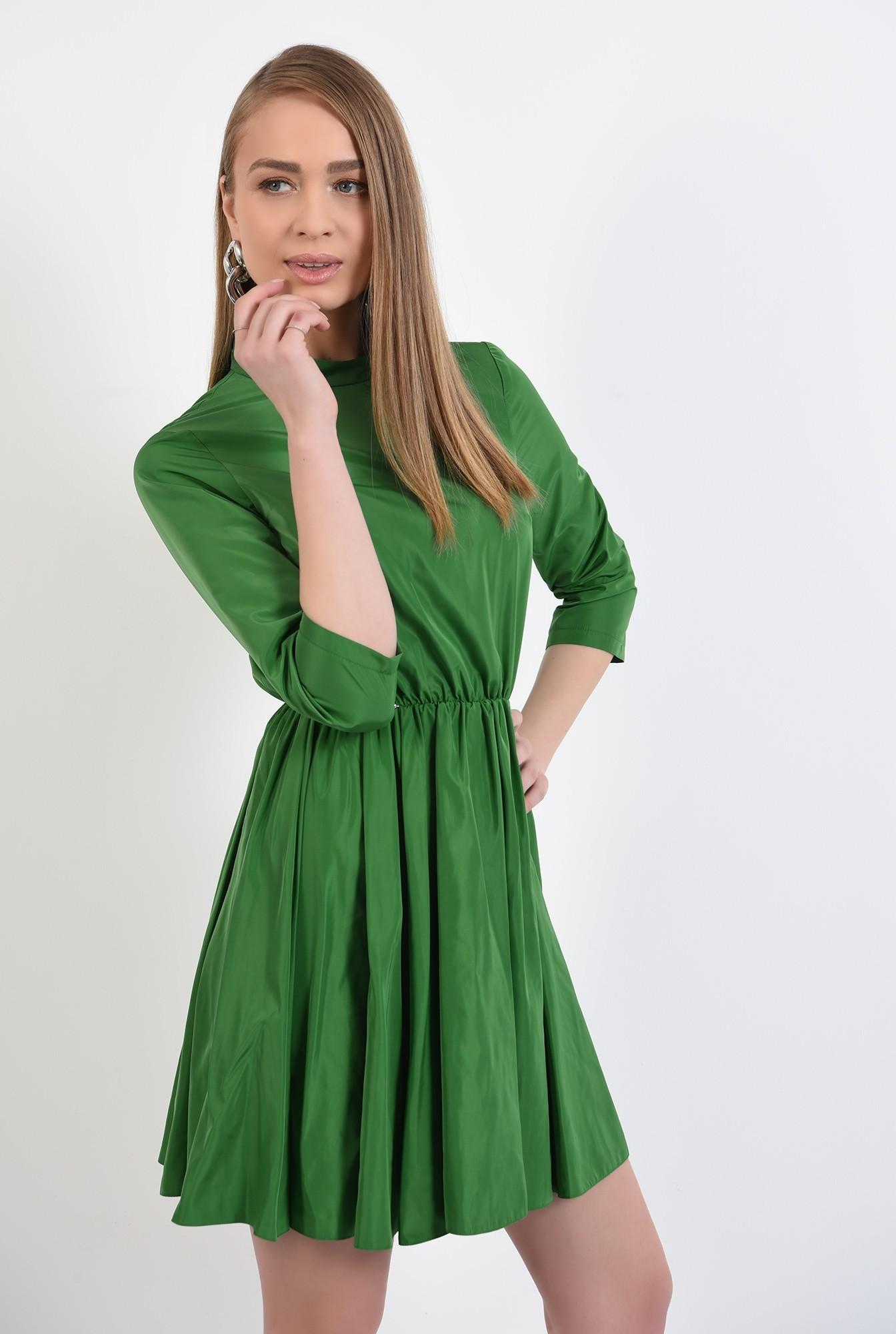 rochie mini, clos, maneci midi, guler mic, rochie de primavara, nasturi pe spate