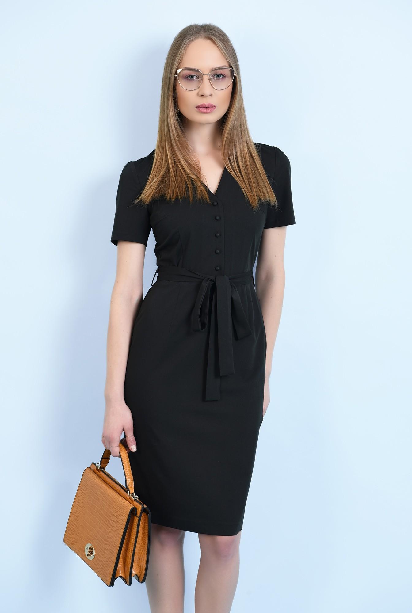 rochie neagra, midi, conica, cu nasturi, cu cordon, rochie de birou