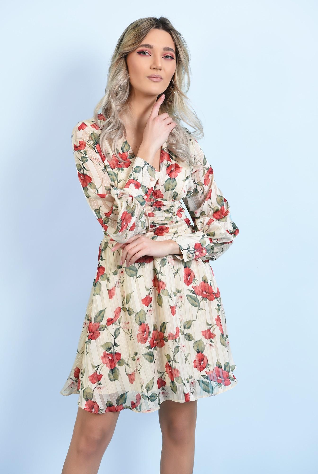 rochie mini, din sifon, cu flori, maneci lungi, betelie fronsata