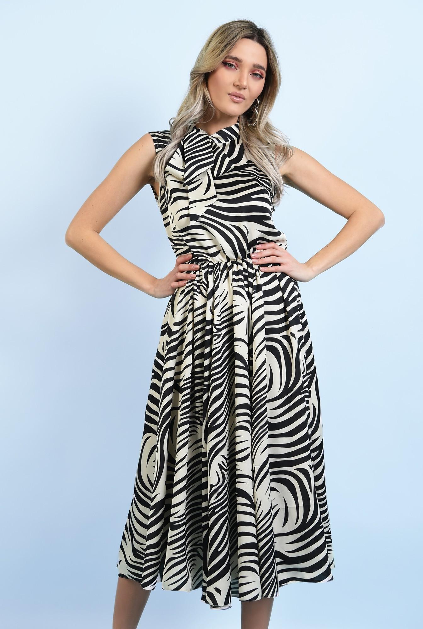 rochie eleganta, midi, evazata, fara maneci, print zebra