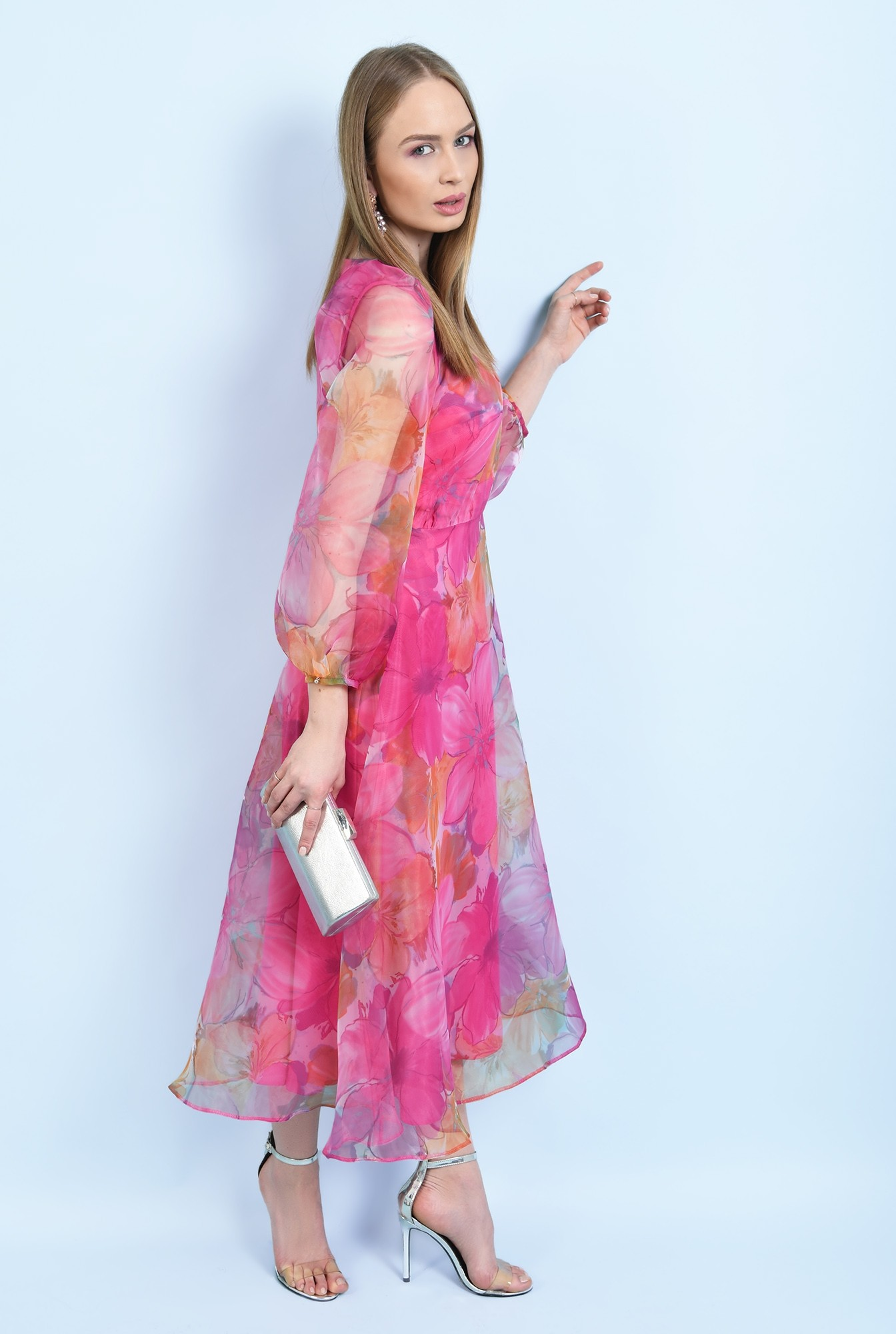 360 - rochie de ocazie, lunga, clos, organza cu print floral, maneci bufante, Poema
