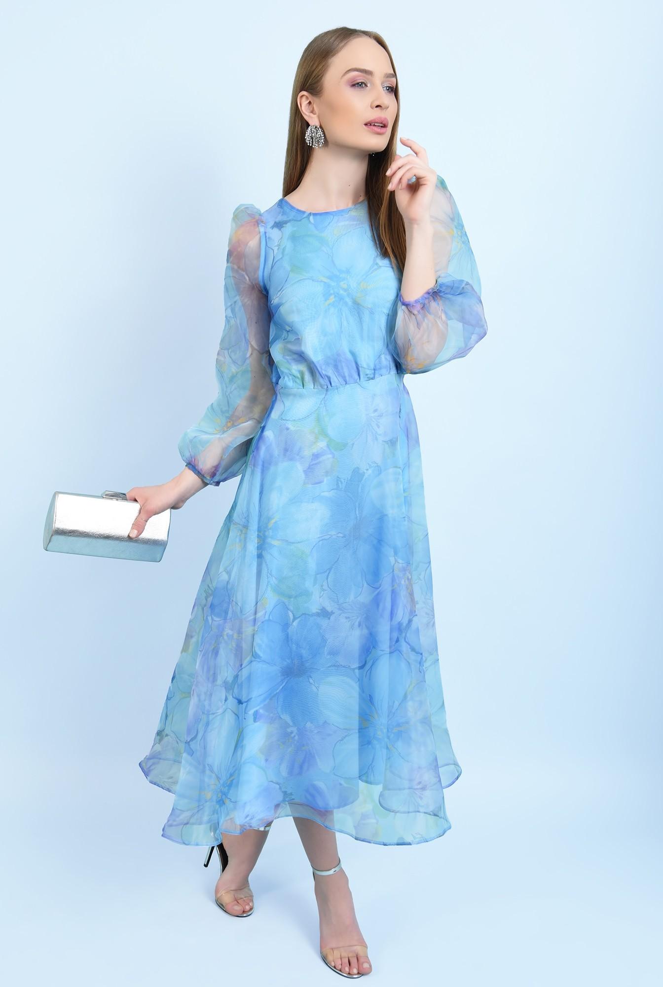360 - rochie lunga, eleganta, din organza, maneci bufante, imprimeu floral