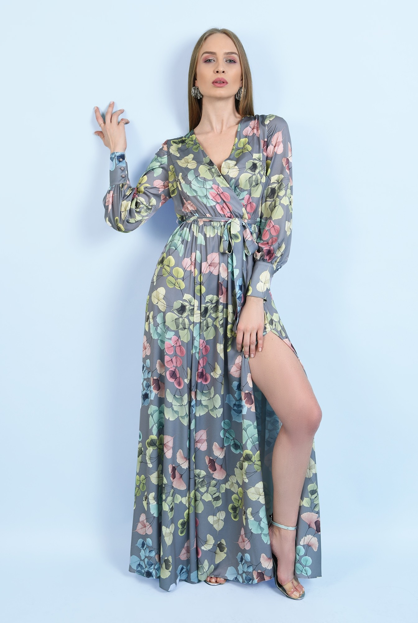rochie eleganta, cu slit, maxi, evazata, cu cordon, maneci lungi