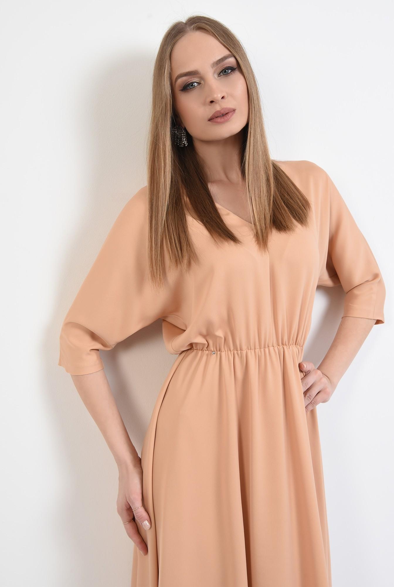 rochie eleganta, evazata, maneci liliac, croi clos, cu anchior, Poema
