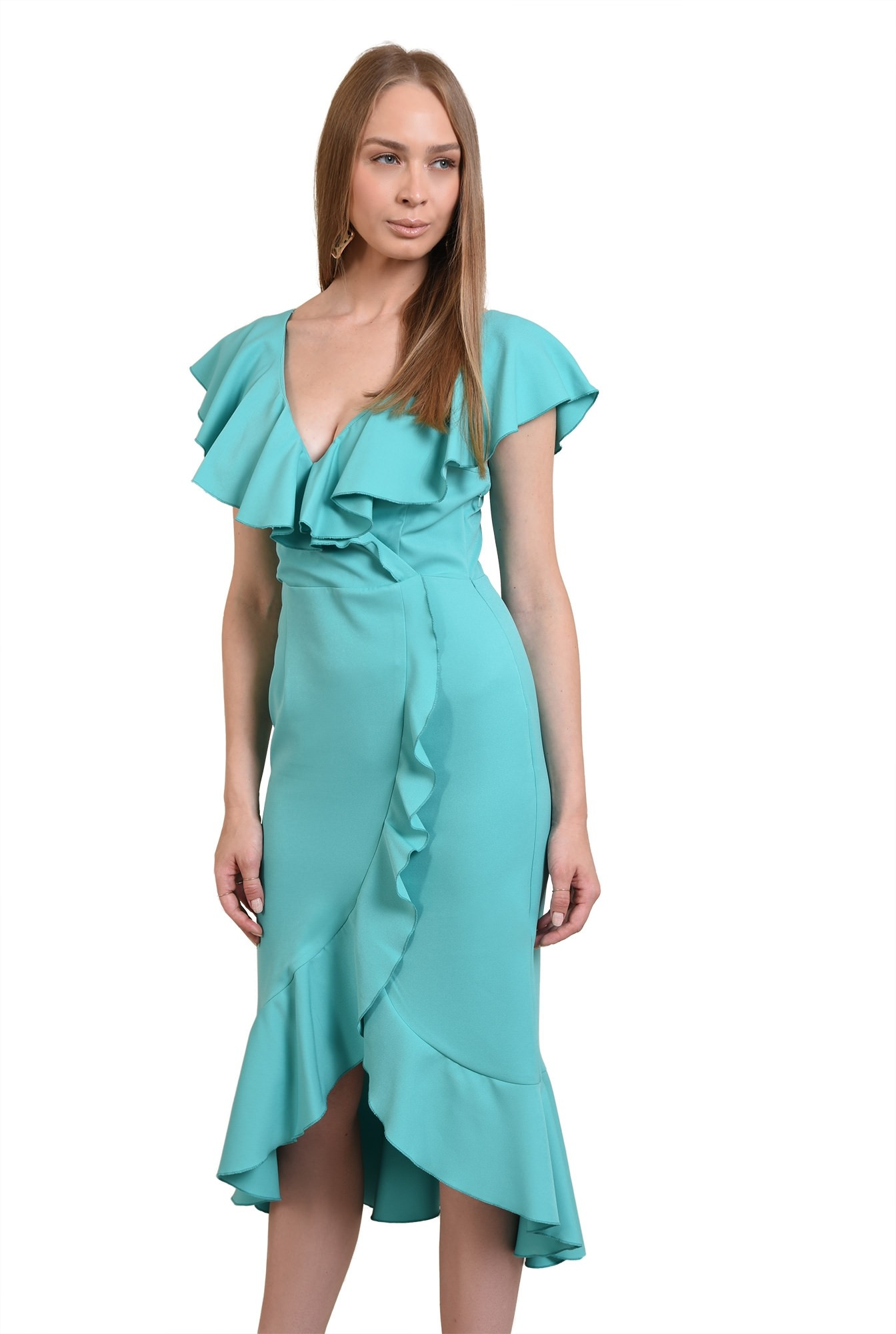 rochie midi, eleganta, cu volane, cu anchior, rochie de ocazie
