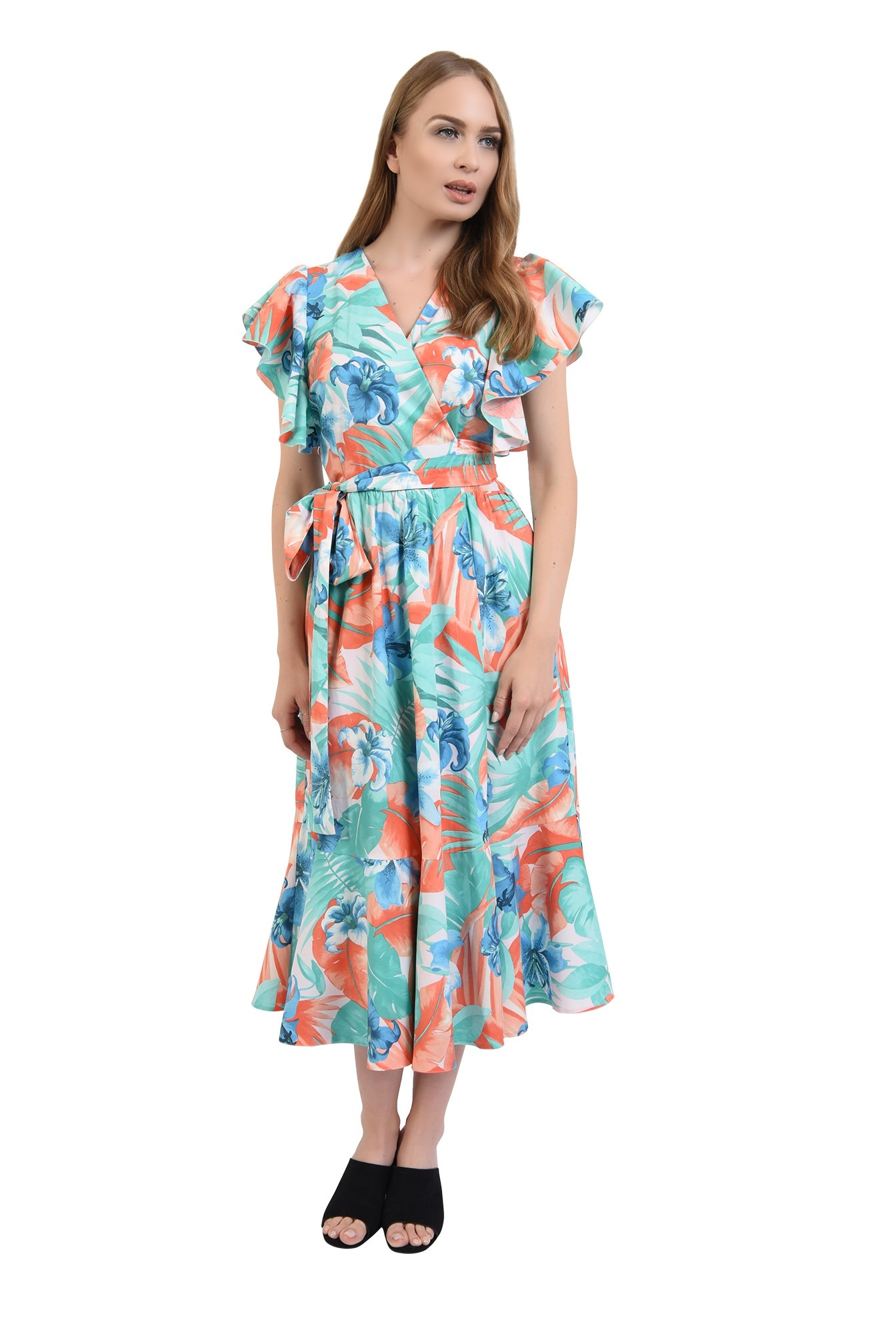 360 - rochie midi, petrecuta, cu imprimeu floral, Poema