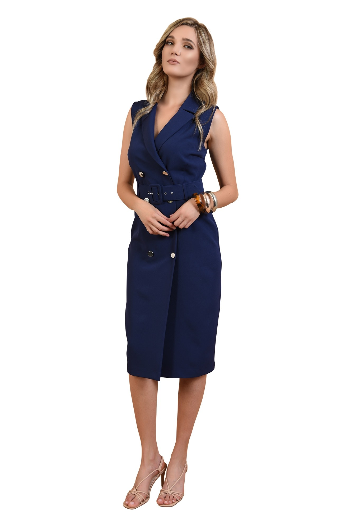 360 - rochie conica, bleumarin, cu nasturi, stil sacou, Poema