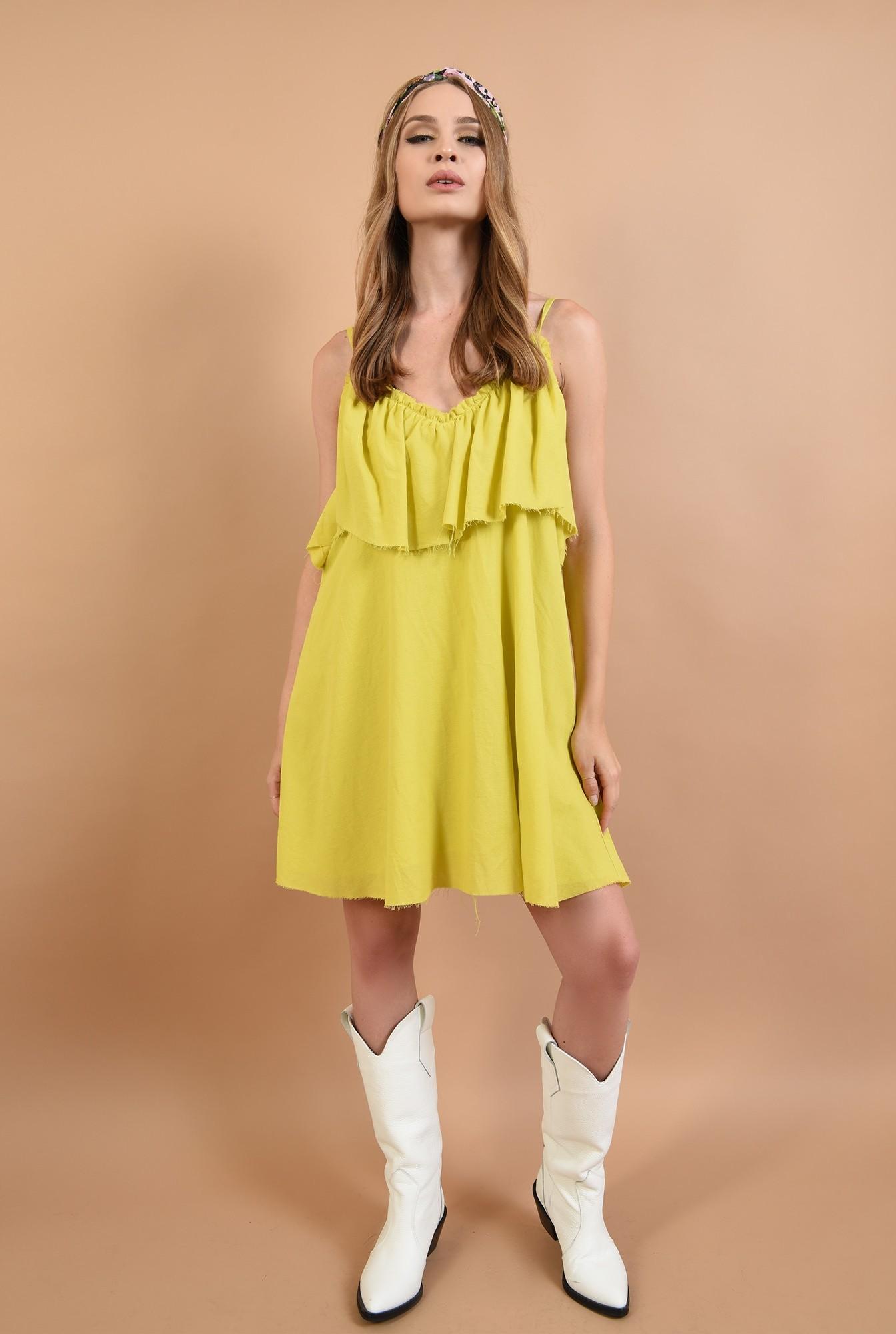 360 - rochie lime,de vara, cu volan, Poema