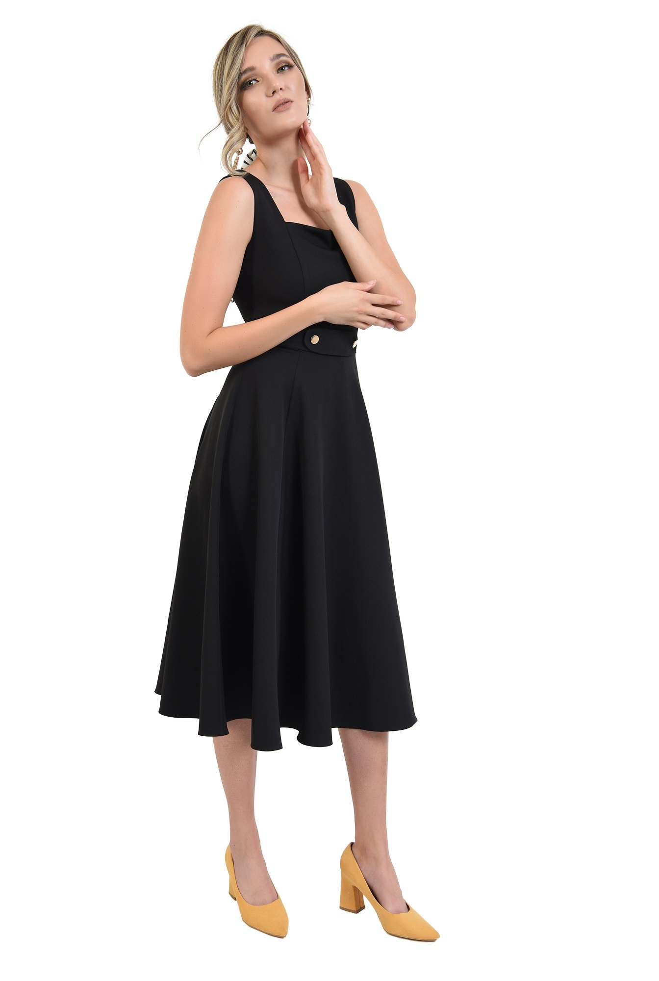 360 - rochie neagra, cu detaliu la talie, evazata, Poema