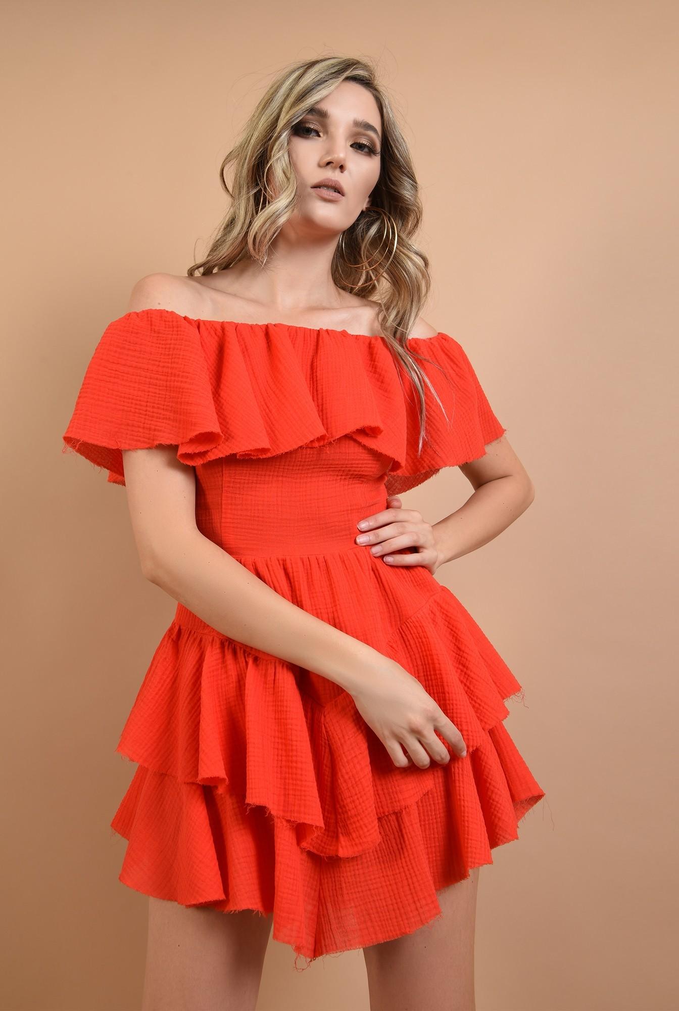 rochie din bumbac, cu volane, rosie, Poema